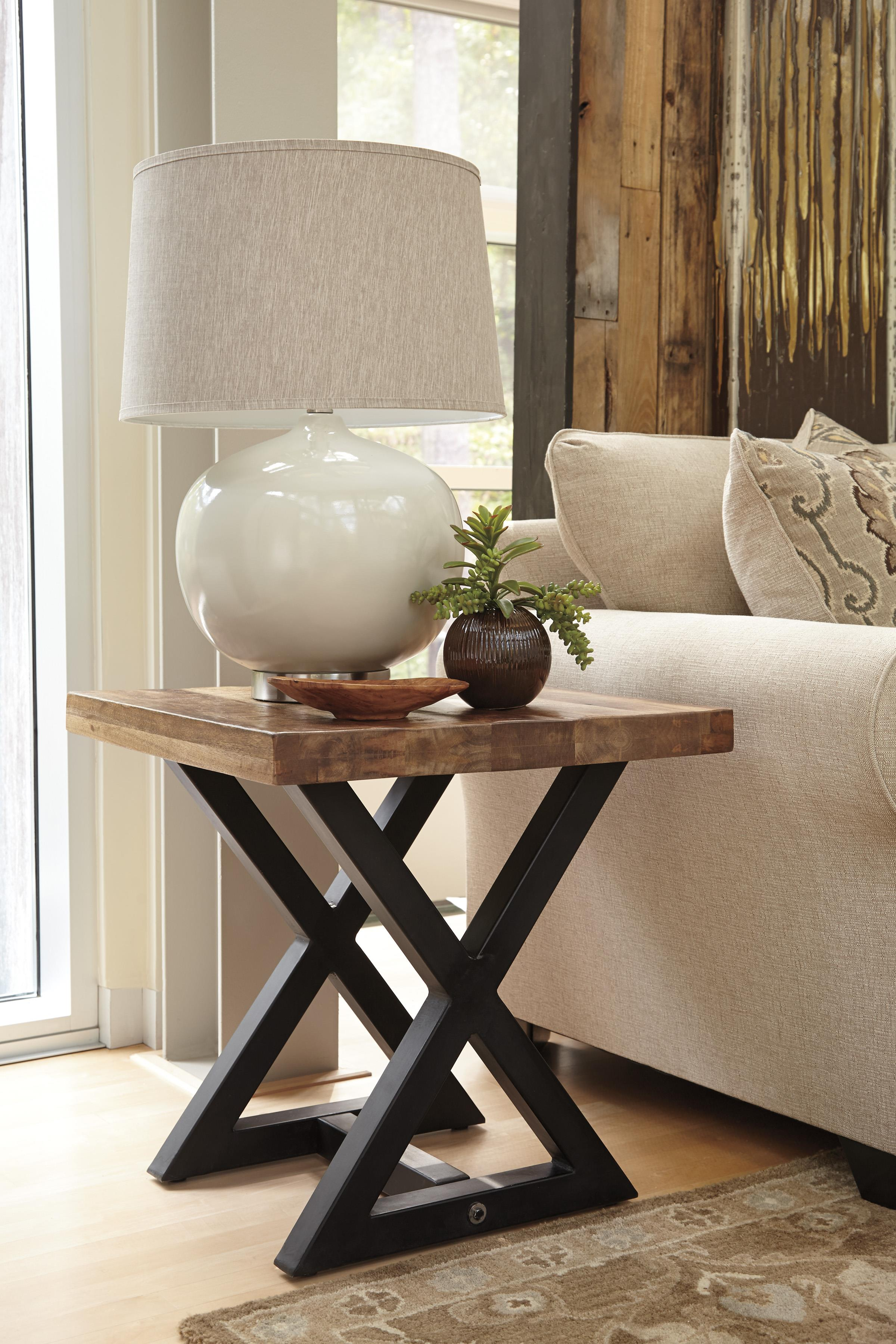 Square end table with mango wood top metal x braced base for Coffee tables york pa