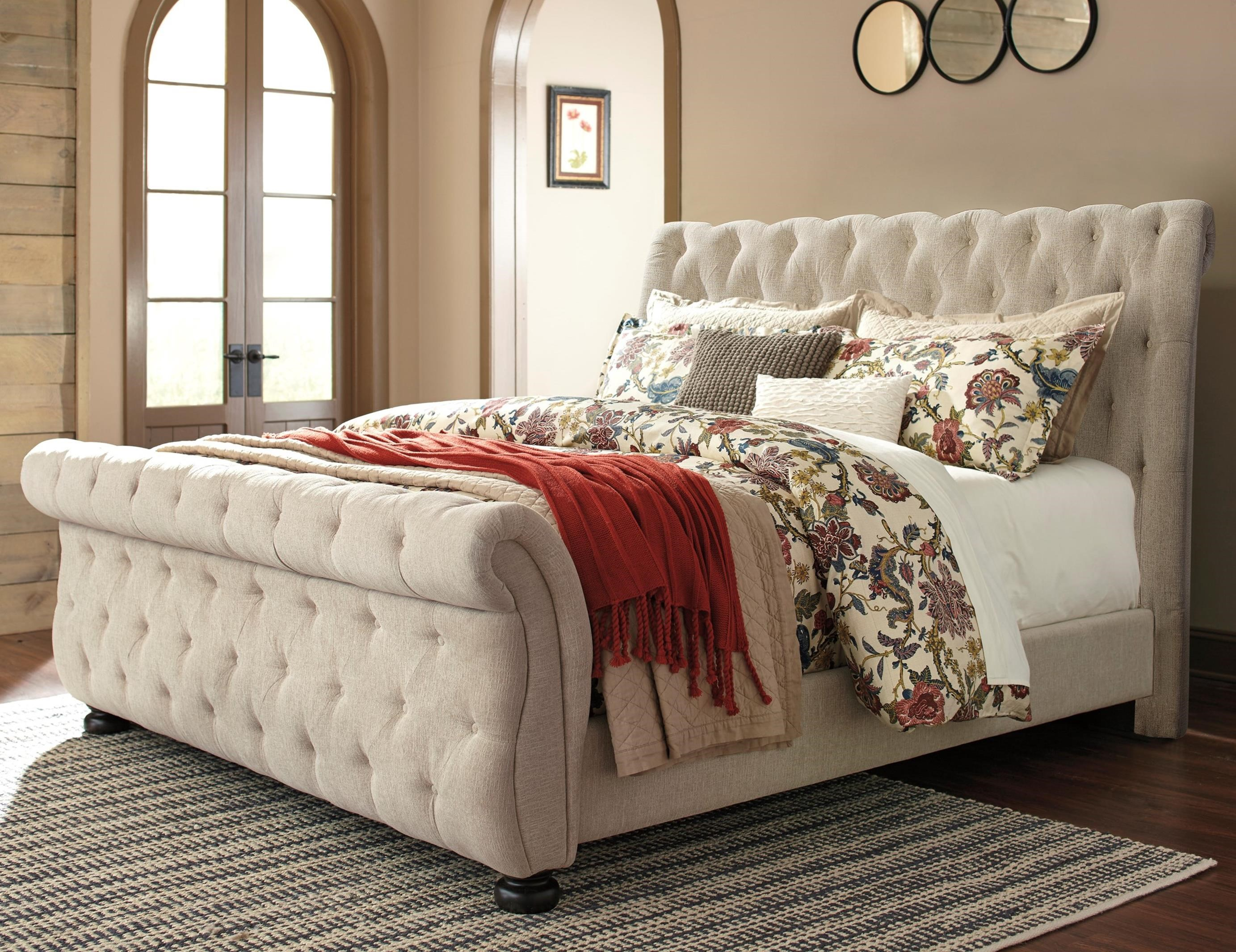 Queen Upholstered Sleigh Bed With Tufting By Signature