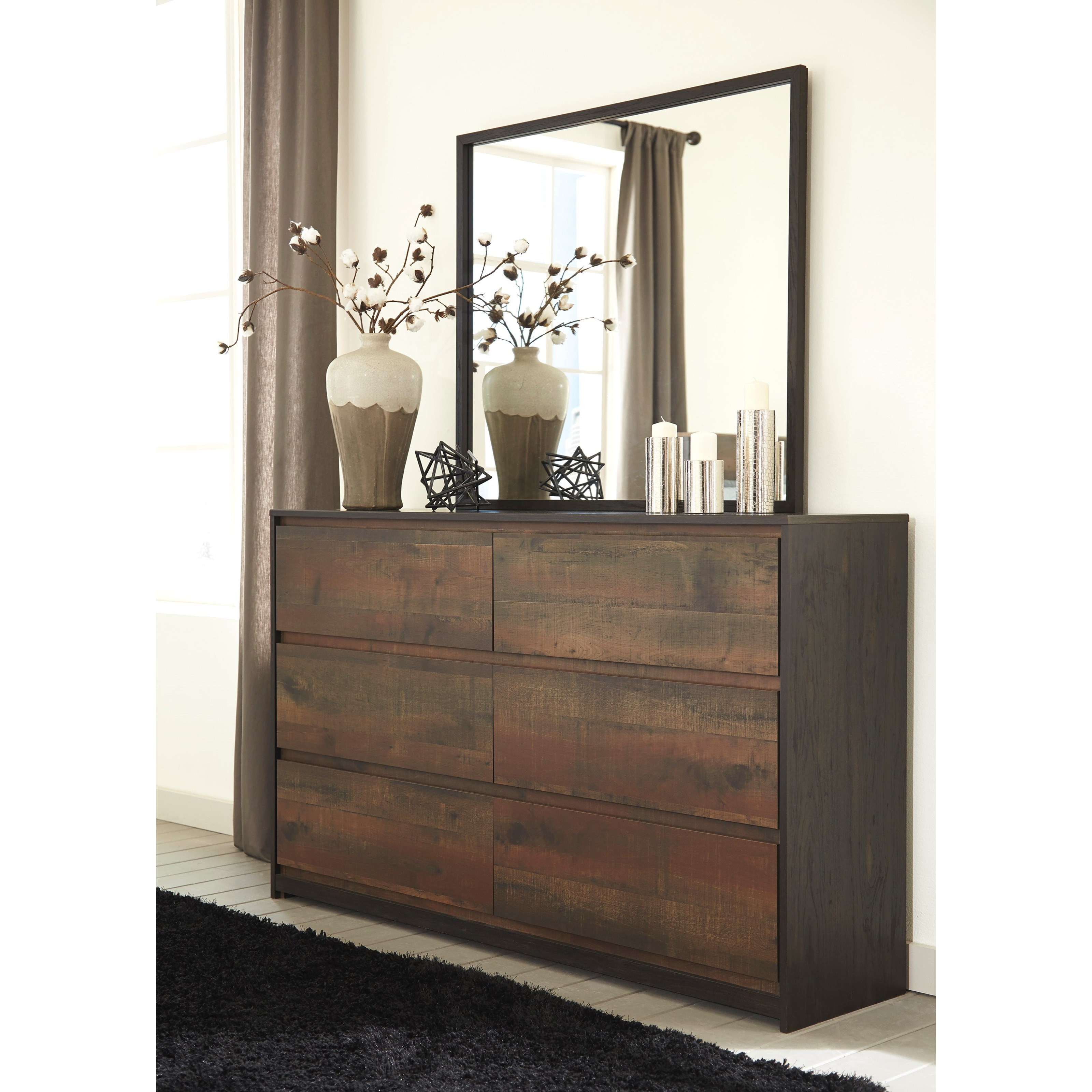 Modern Rustic Dresser Bedroom Mirror By Signature Design By Ashley Wolf And Gardiner Wolf