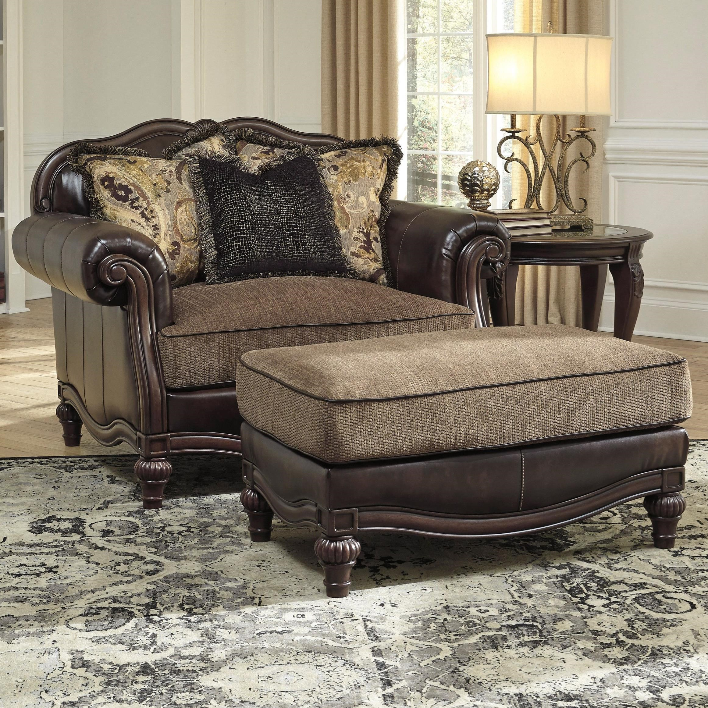 traditional chair and a half ottoman by signature design by ashley wolf and gardiner wolf. Black Bedroom Furniture Sets. Home Design Ideas