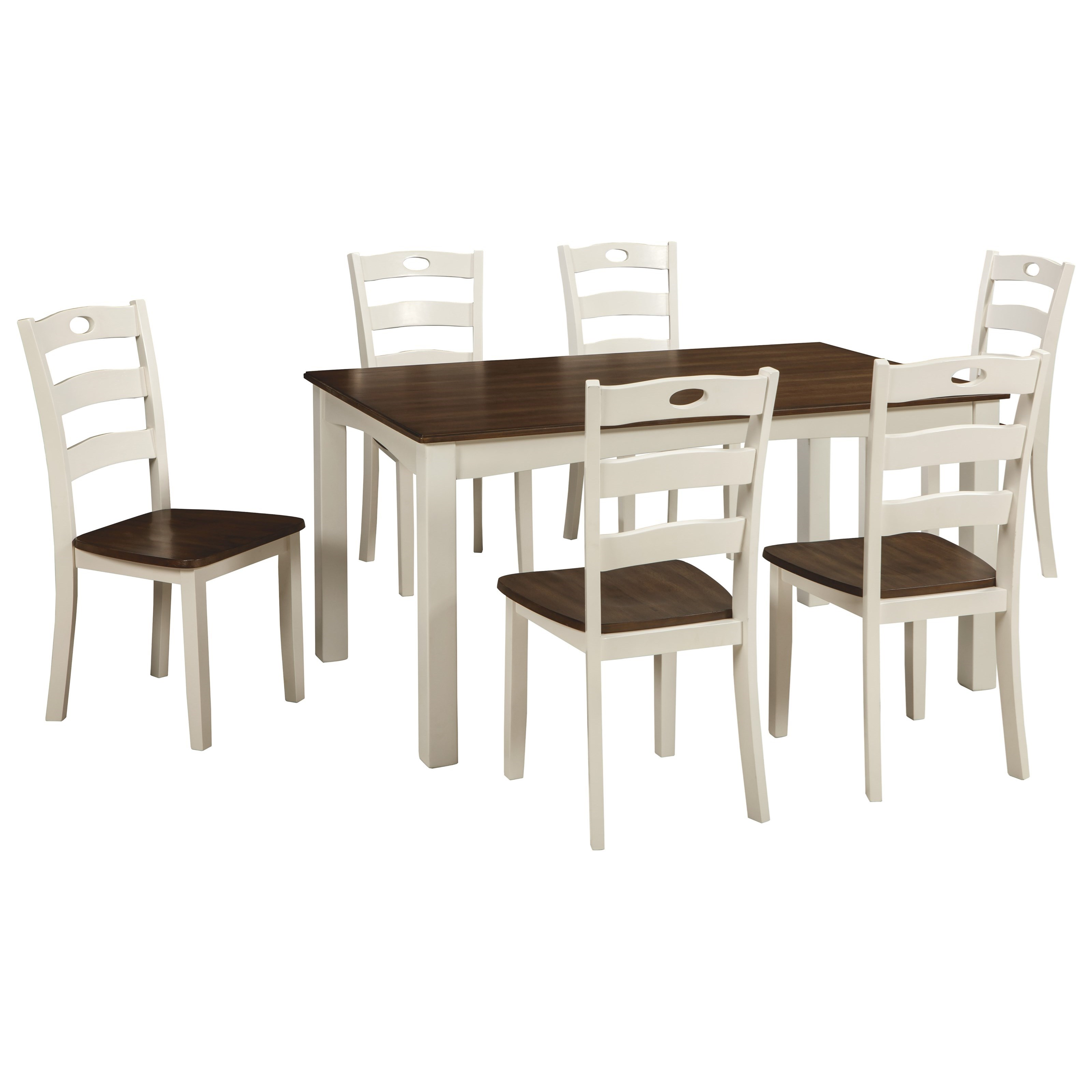 two tone finish 7 piece dining room table set by signature design by ashley wolf and gardiner. Black Bedroom Furniture Sets. Home Design Ideas