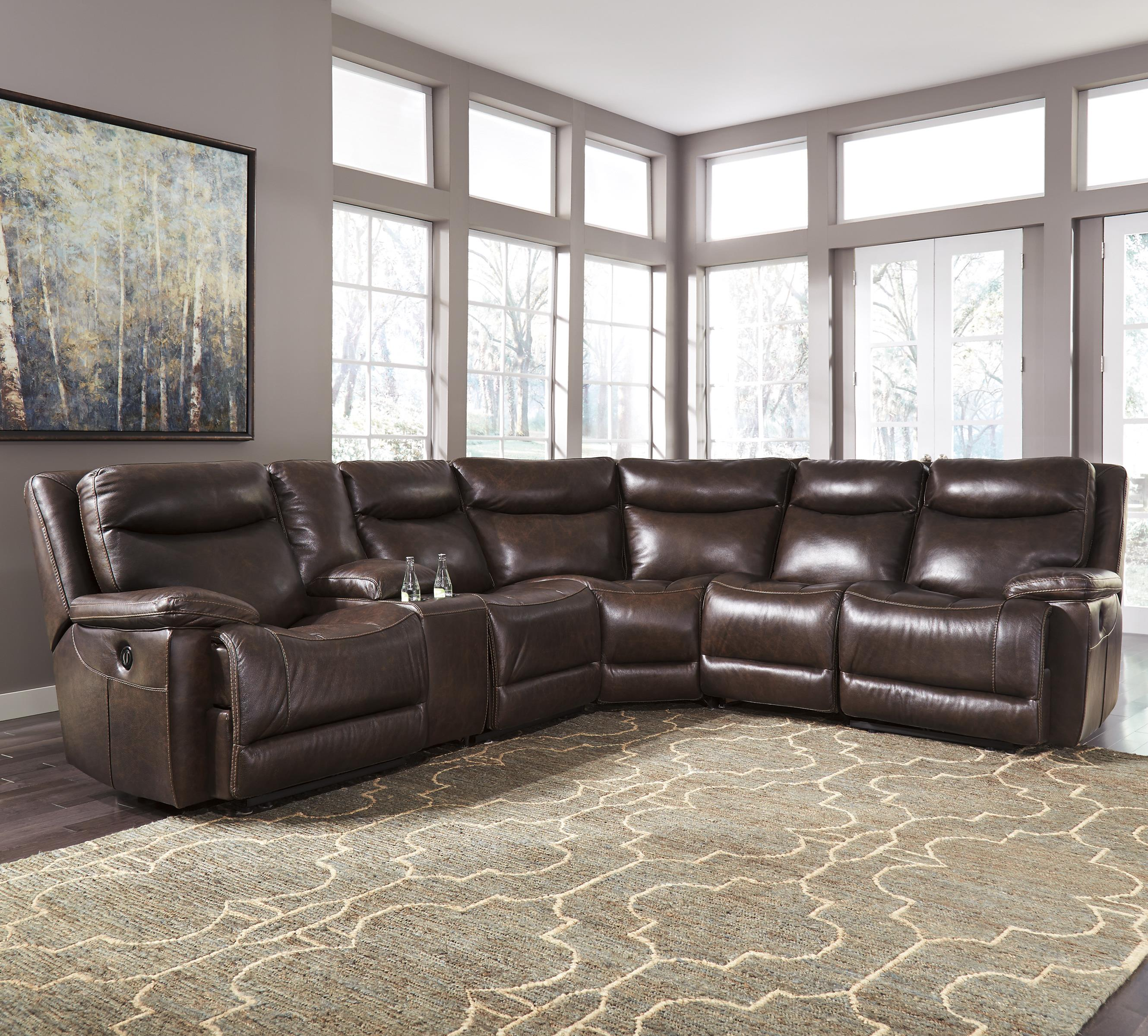 Contemporary leather match reclining sectional with for Sectional sofa with reclining ends