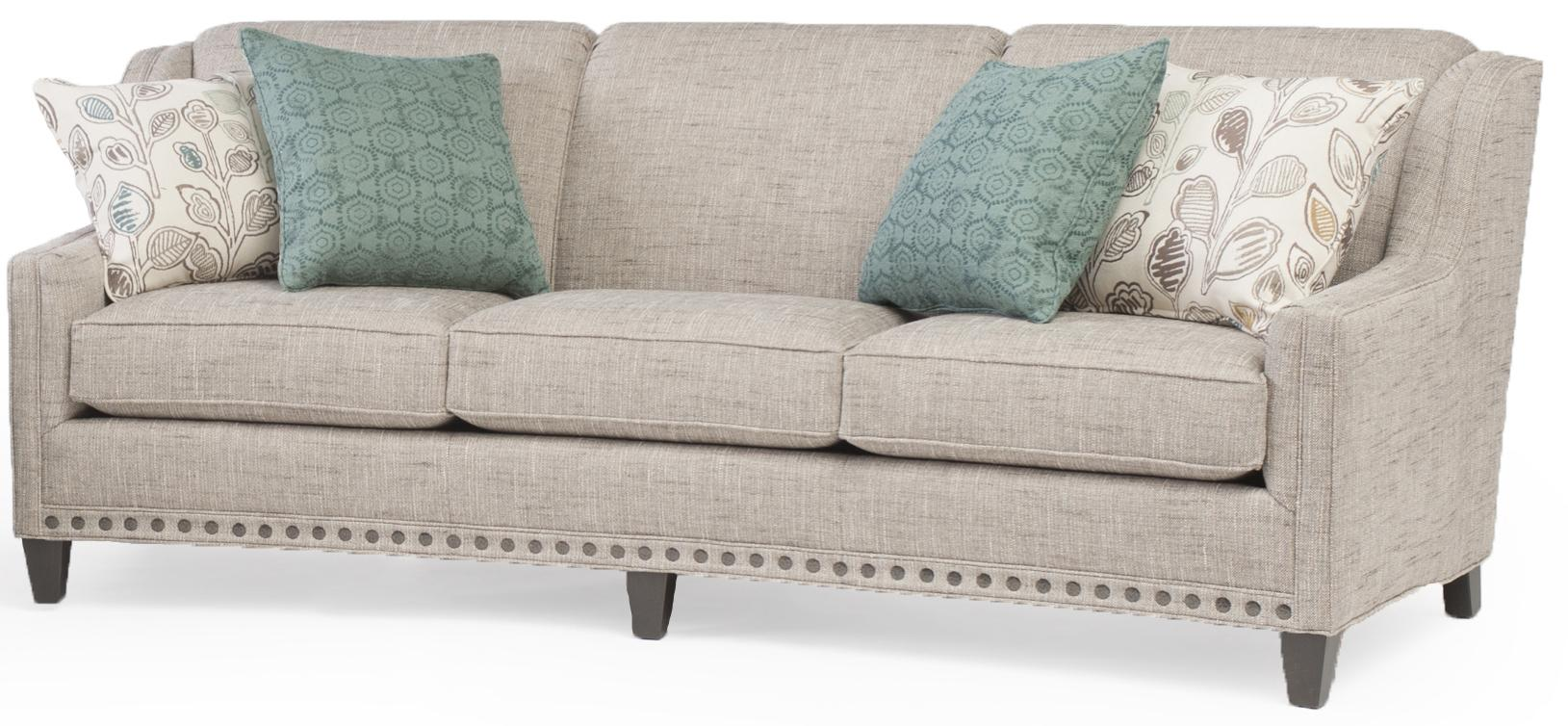Slightly curved sofa with sloping track arms and nail head for Sofa with only one arm