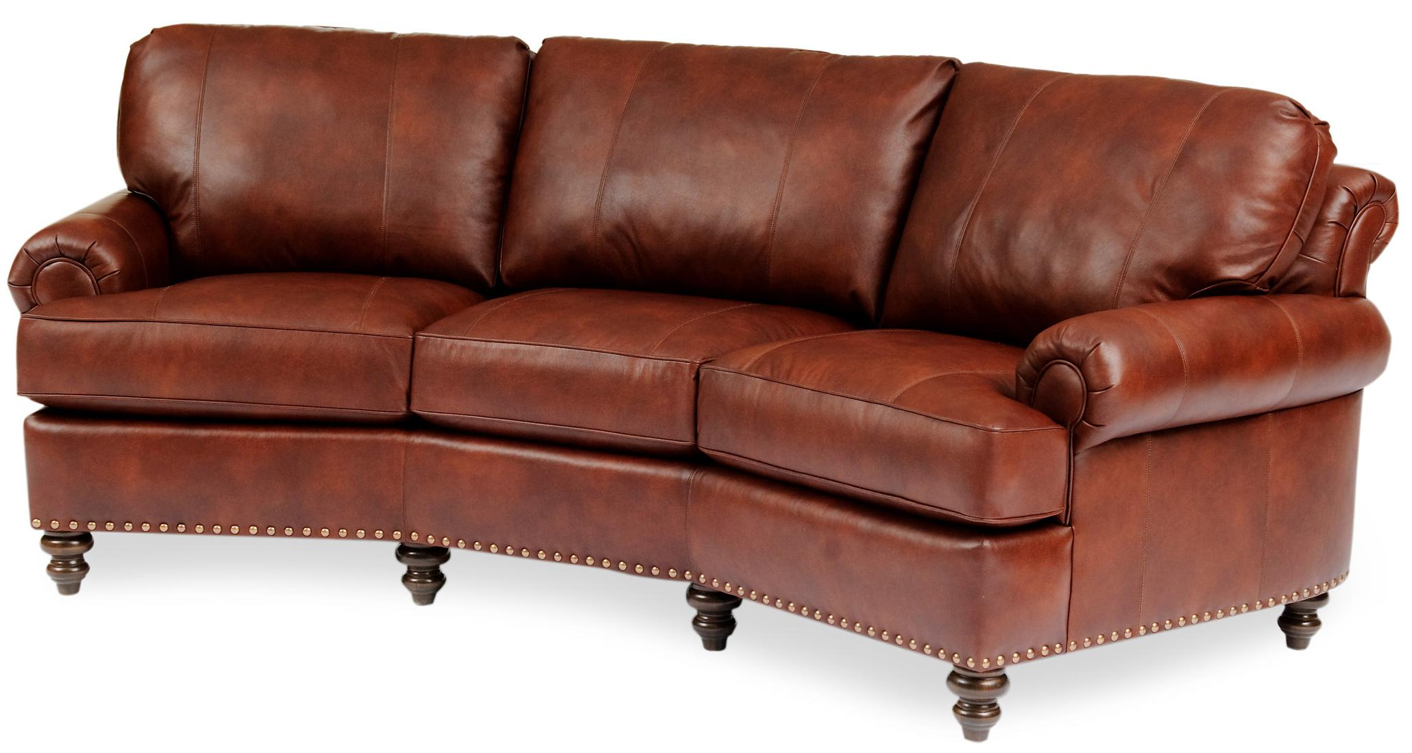 Leather Conversational Sofa with Nailhead Trim by Smith