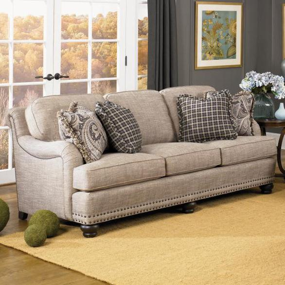 English sofa with rolled back english arms and nail head for Sofa with only one arm