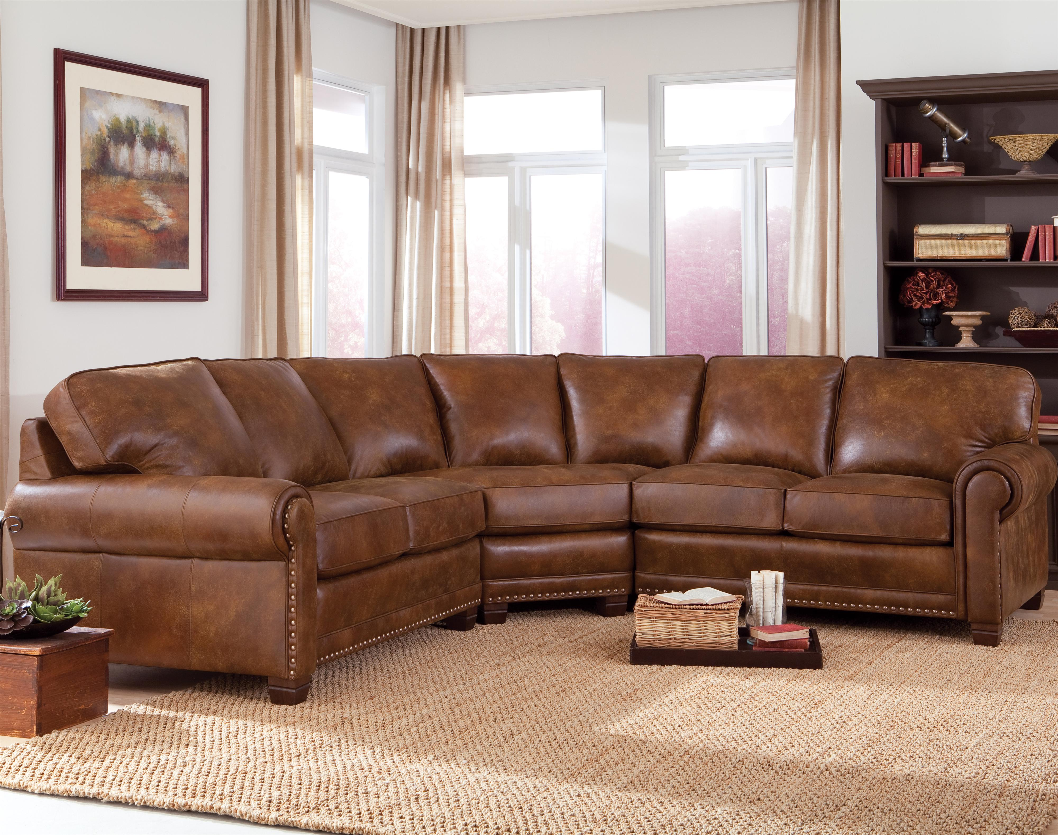 Traditional 3 piece sectional sofa with nailhead trim by for Traditional sectional