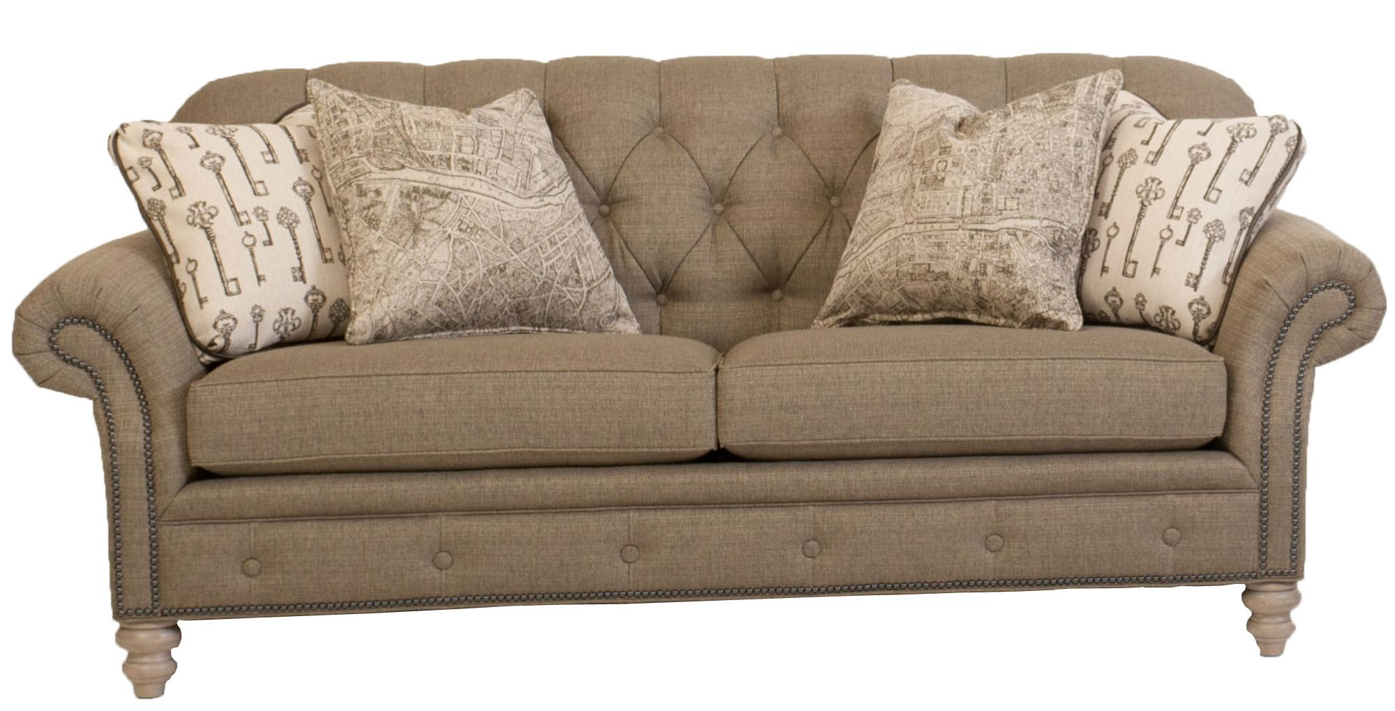 Traditional button tufted sofa with nailhead trim by smith for Traditional couches
