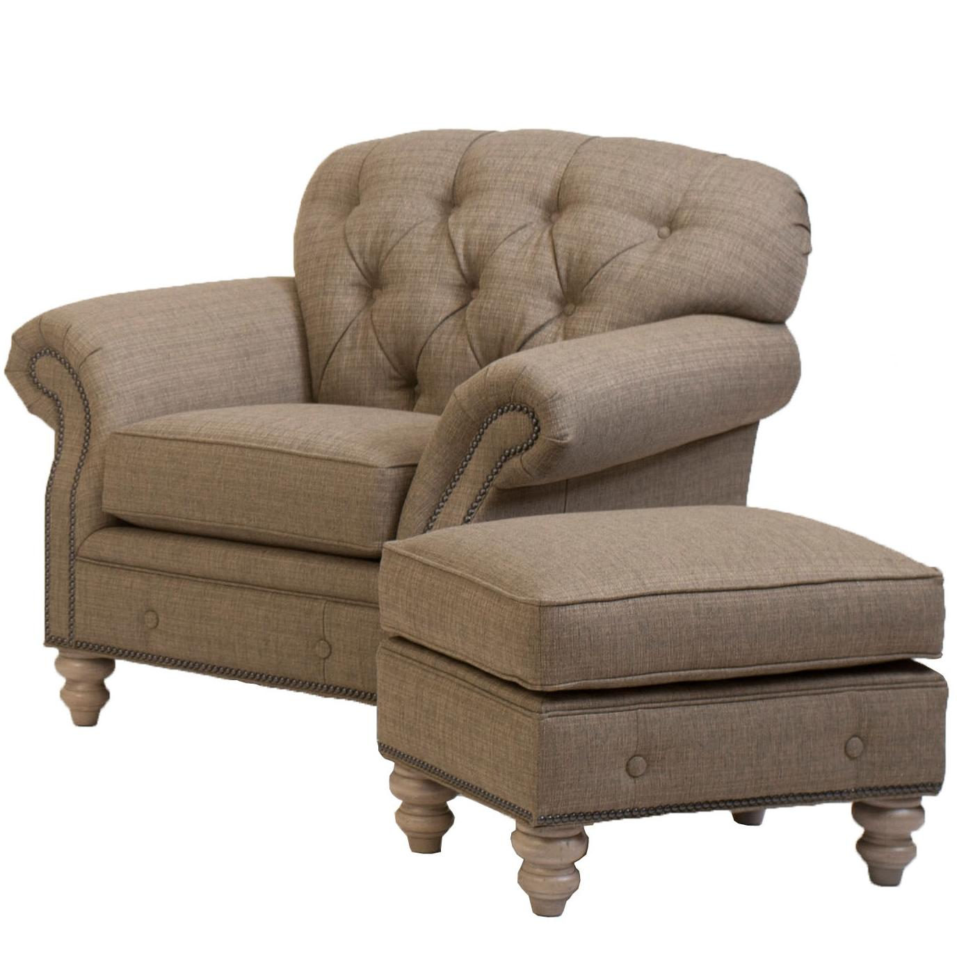 Traditional button tufted chair and ottoman combination by for Chair ottoman