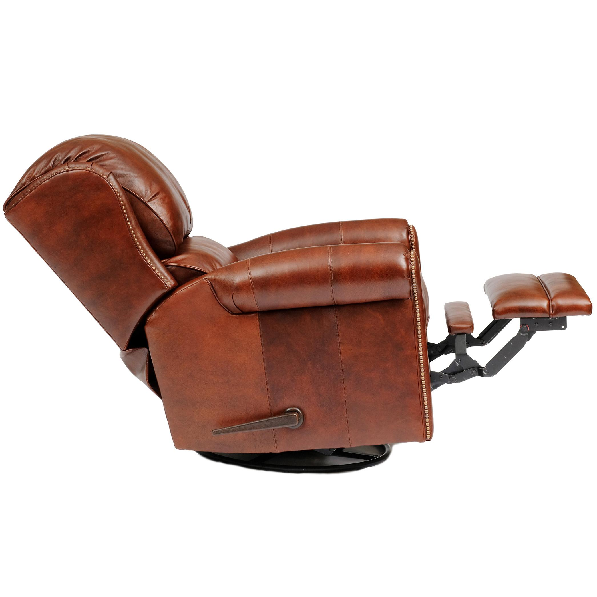 Casual Leather Swivel Glider Reclining Chair By Smith