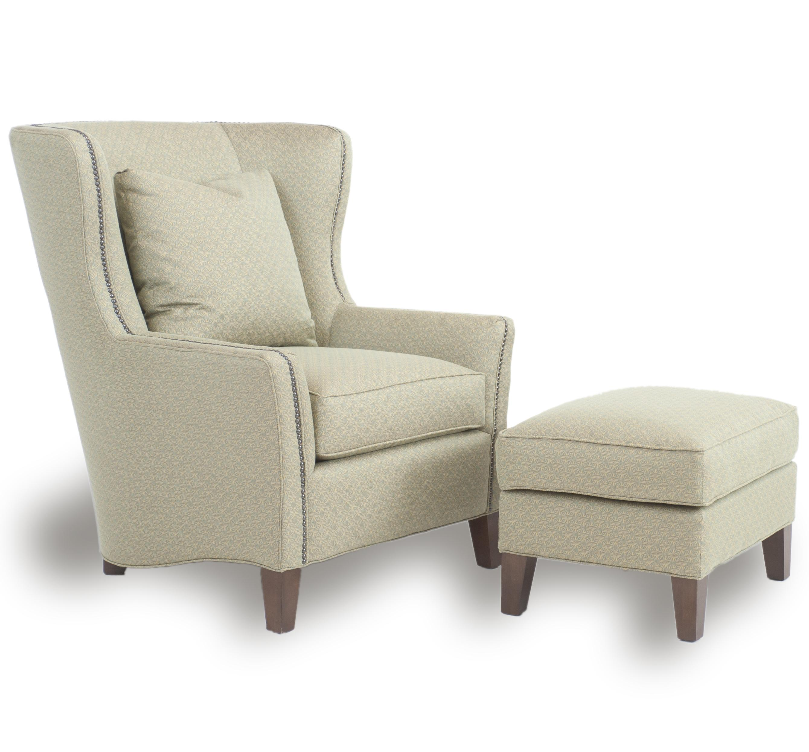 Contemporary wingback chair with track arms by smith for Accent furniture