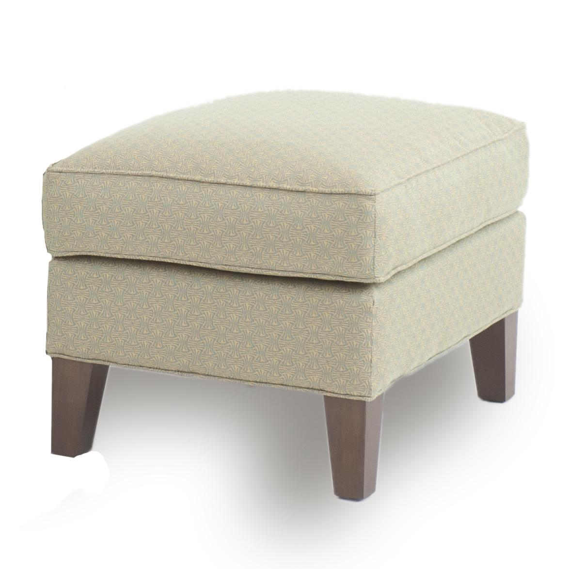 Ottoman with tapered wood legs by smith brothers wolf