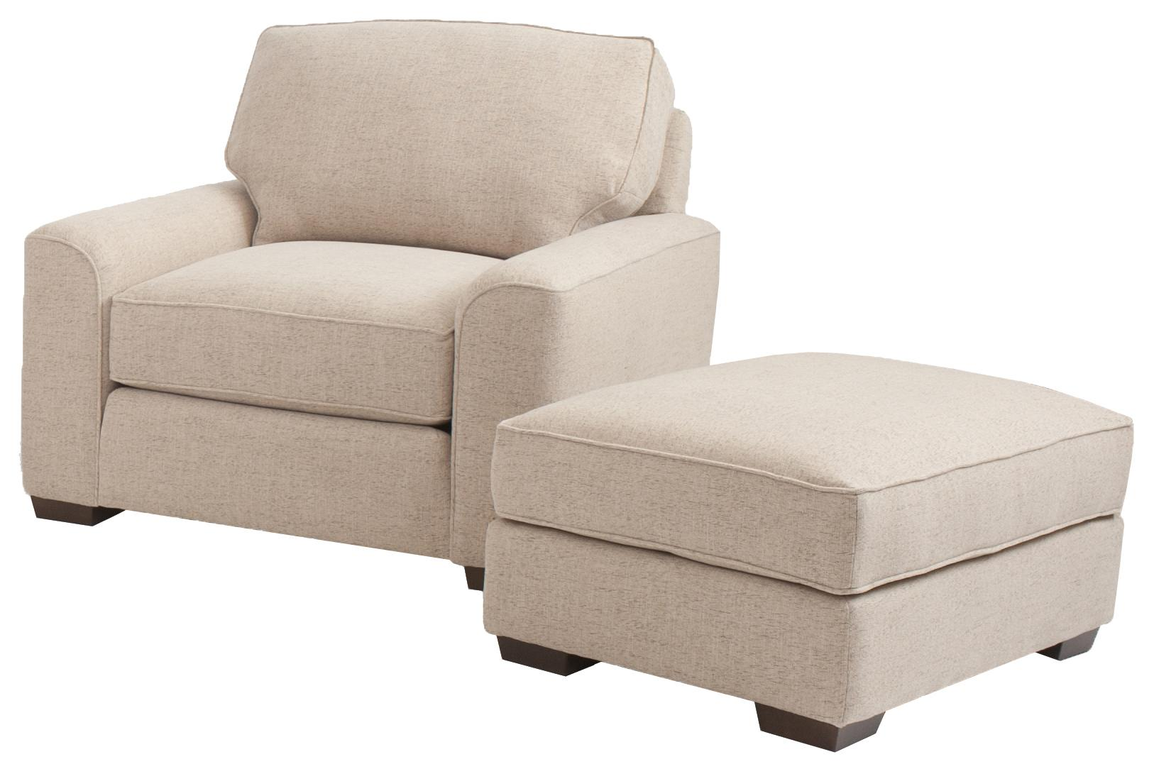 Retro styled chair and ottoman set by smith brothers for Settee and chair set