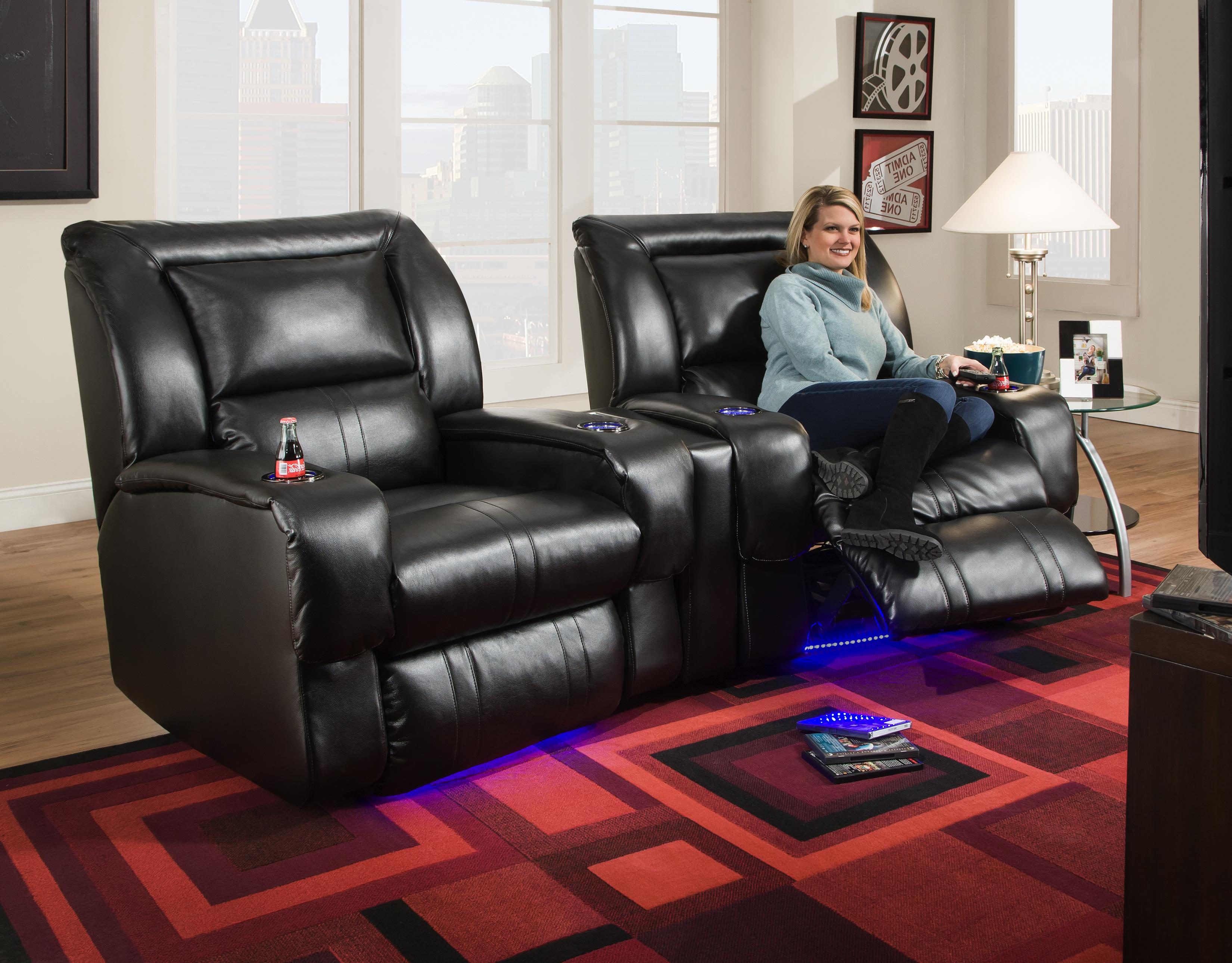 Wall hugger recliner with led lights cup holders by - Sillon home cinema ...