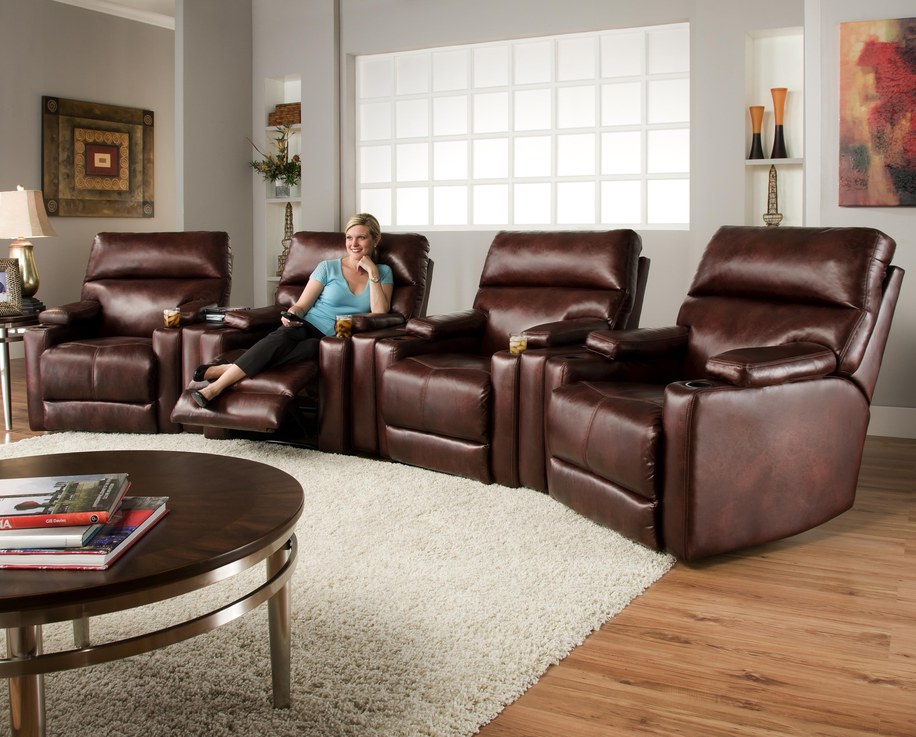 Theater Seating Group With 4 Lay Flat Recliners And Cup Holders By Southern Motion Wolf And