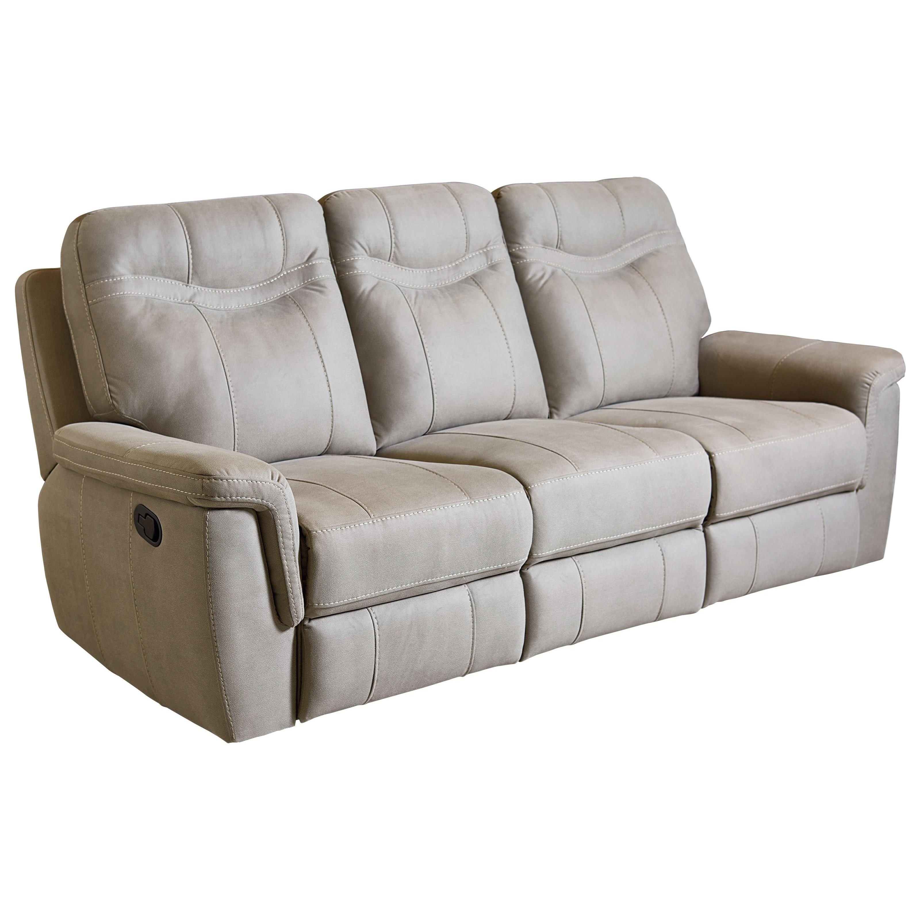 contemporary stone colored reclining sofa by standard furniture wolf and gardiner wolf furniture. Black Bedroom Furniture Sets. Home Design Ideas
