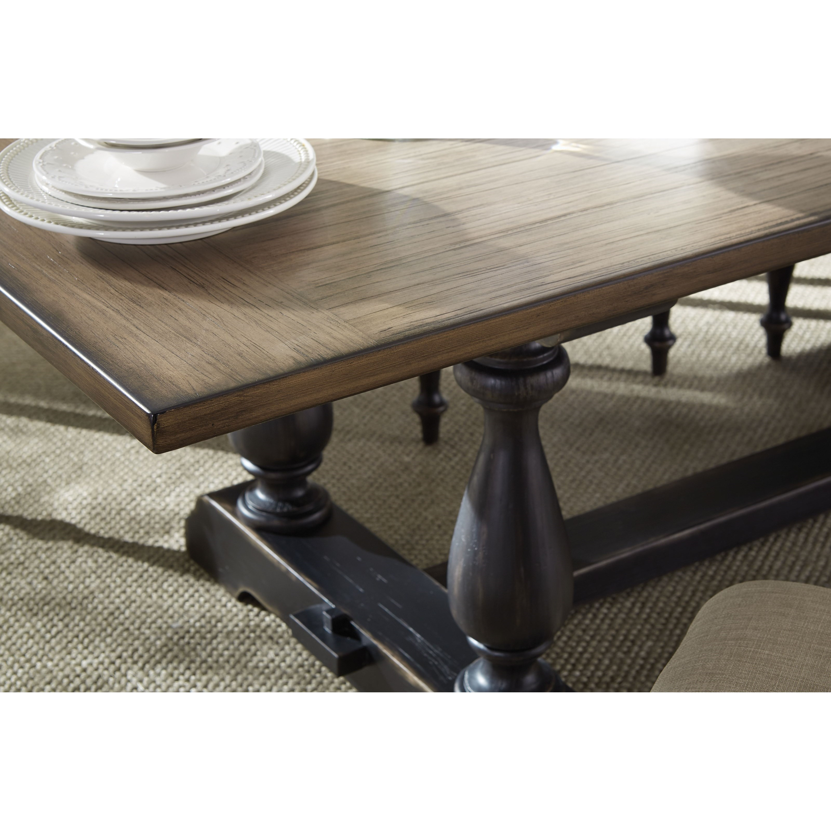 two tone dining table with trestle base by standard furniture wolf and gardiner wolf furniture. Black Bedroom Furniture Sets. Home Design Ideas