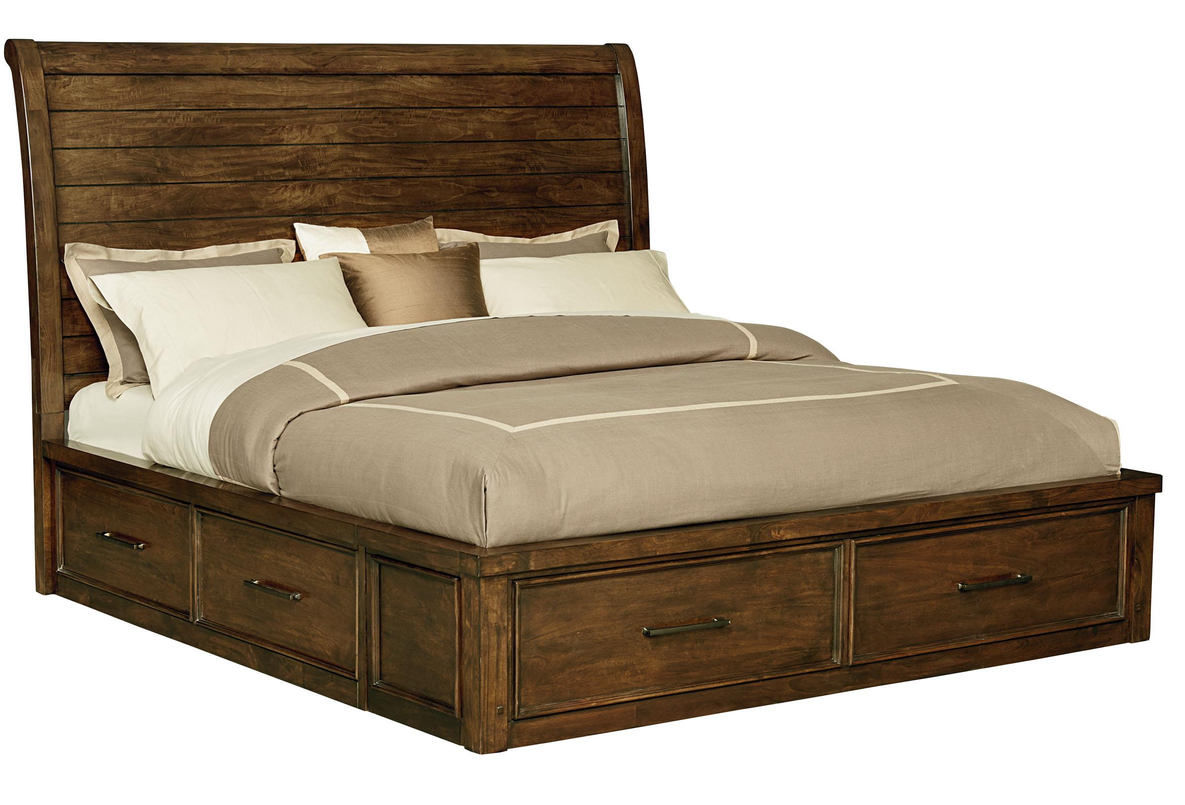 Queen Sleigh Bed With Underbed Storage By Standard
