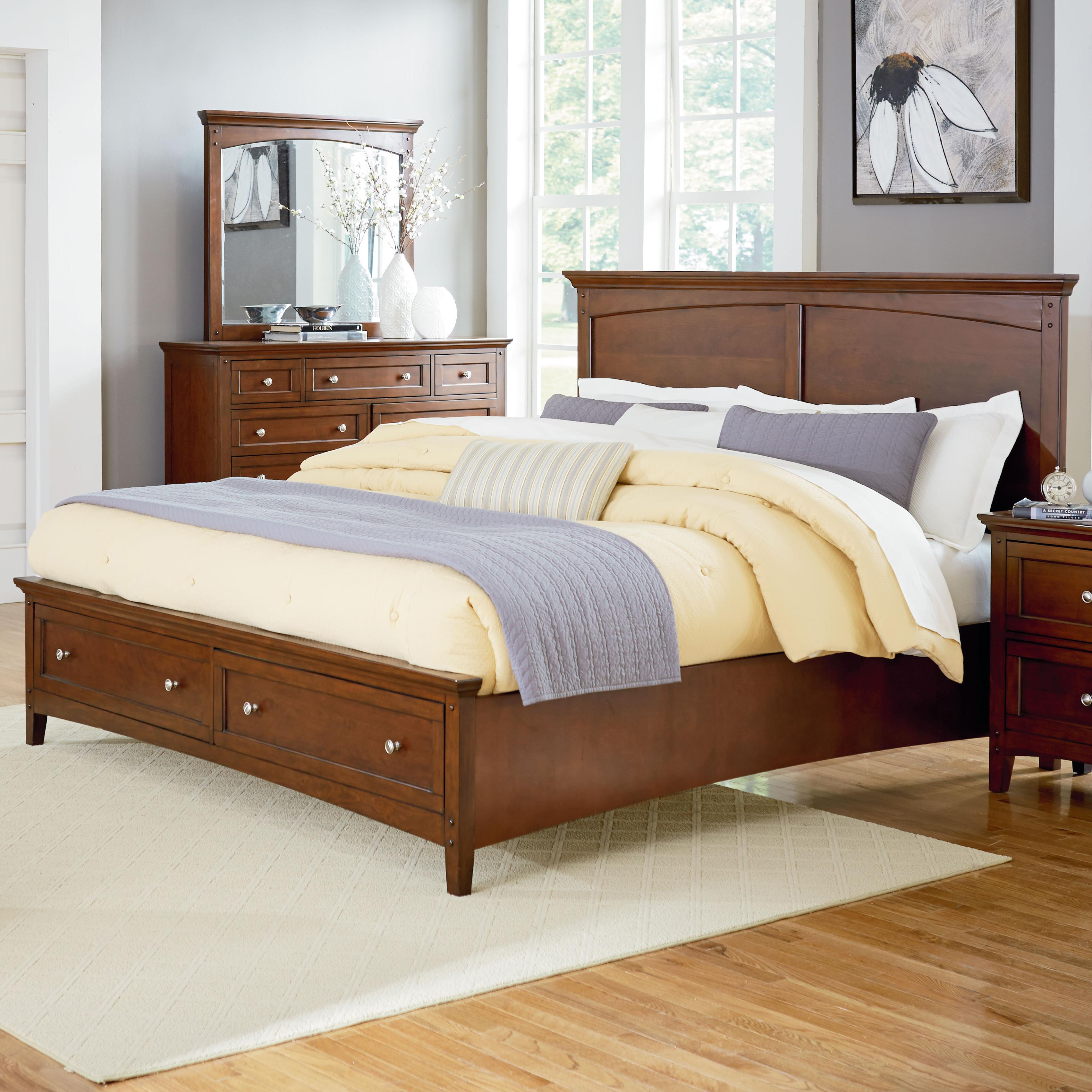 Casual queen bed with storage footboard by standard for Queen footboard