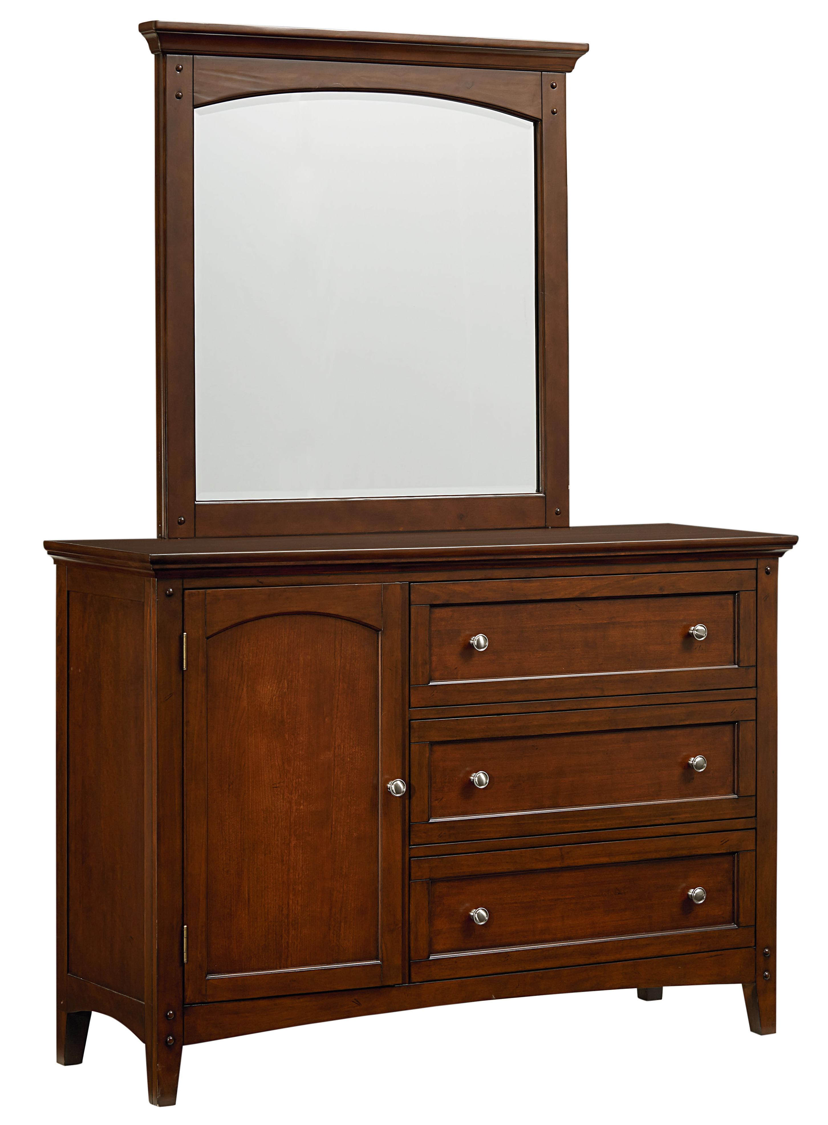 Casual Youth Dresser With 3 Drawers And A Door And Mirror