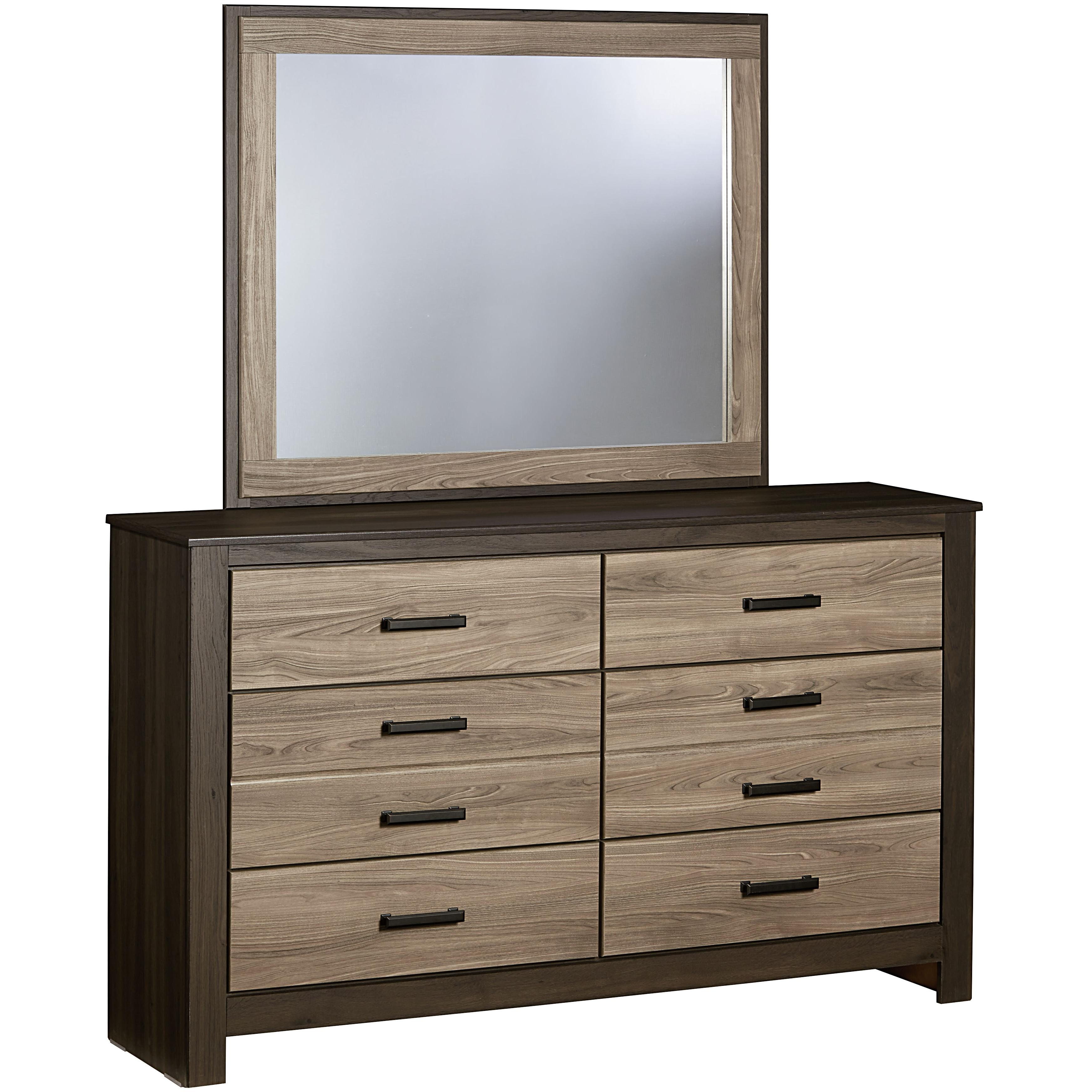 Dresser with 6 Drawers and Mirror by Standard Furniture