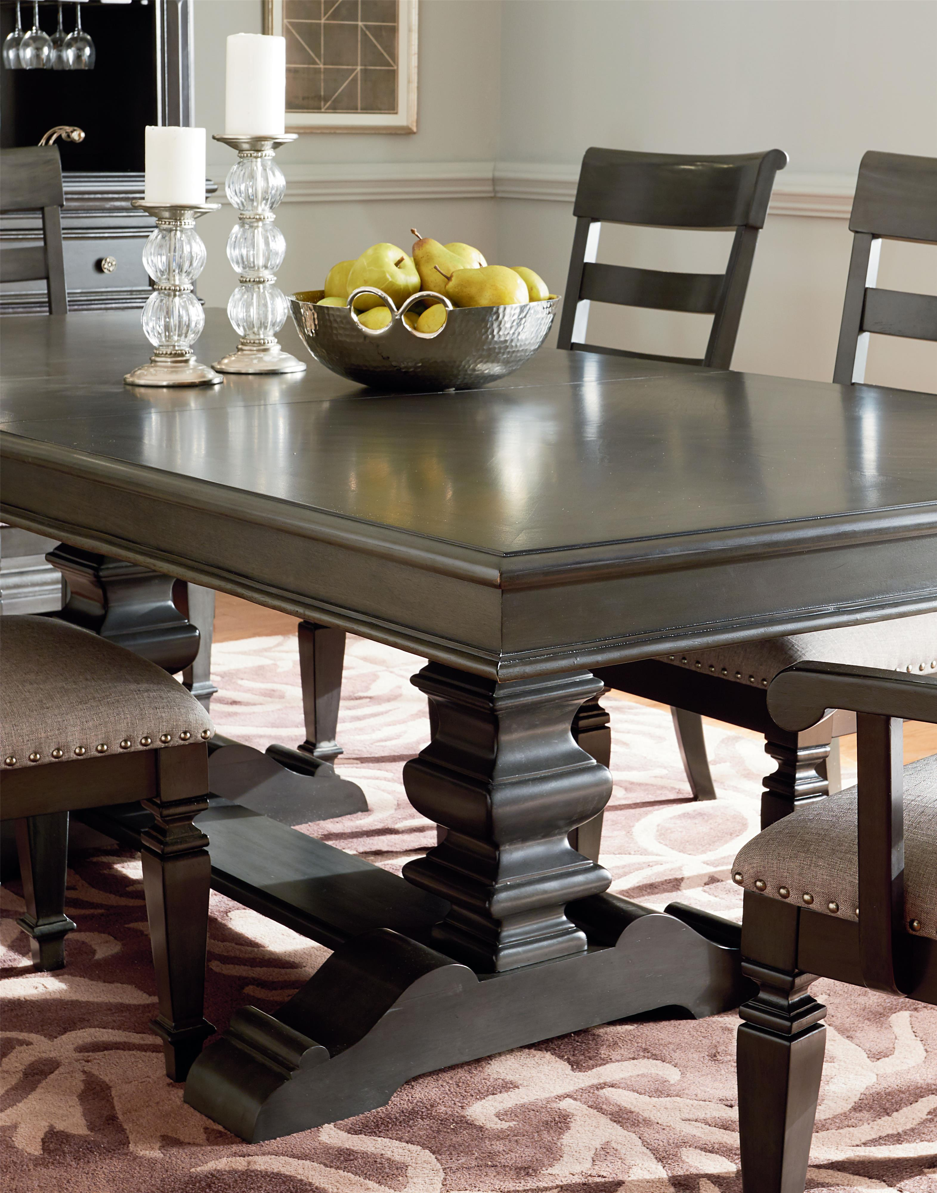 Trestle dining table with smooth grey finish by standard for Best dining room table finish