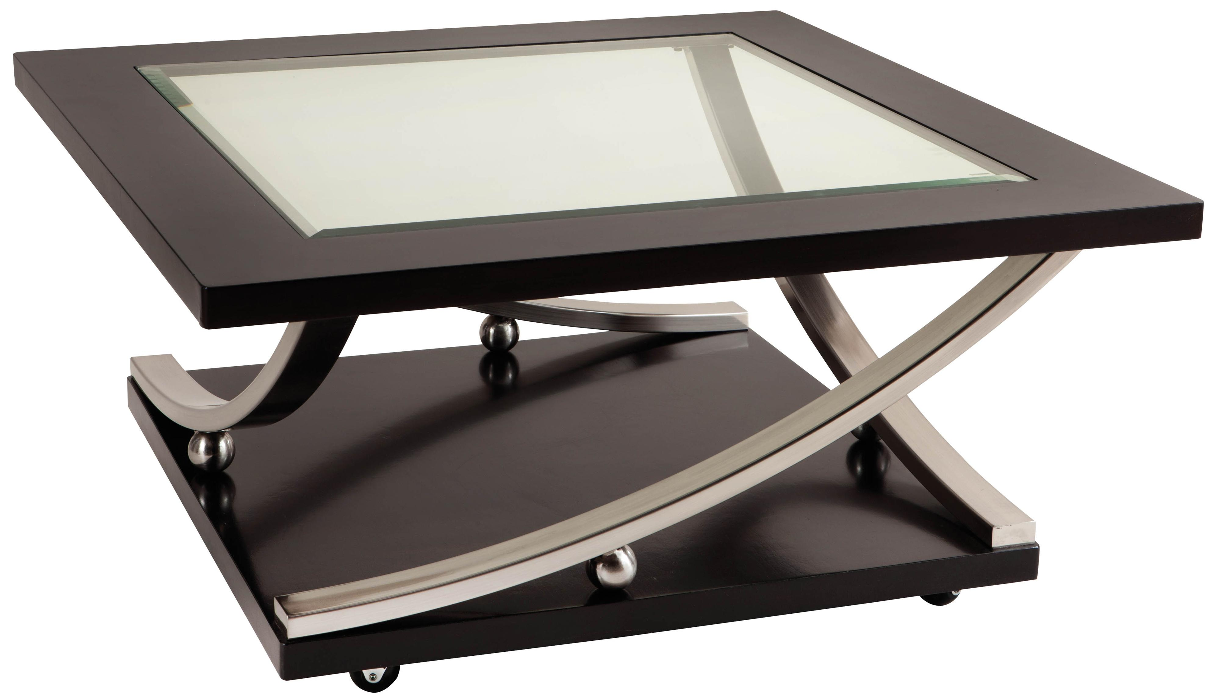 Square Glass Top Cocktail Table With Casters By Standard