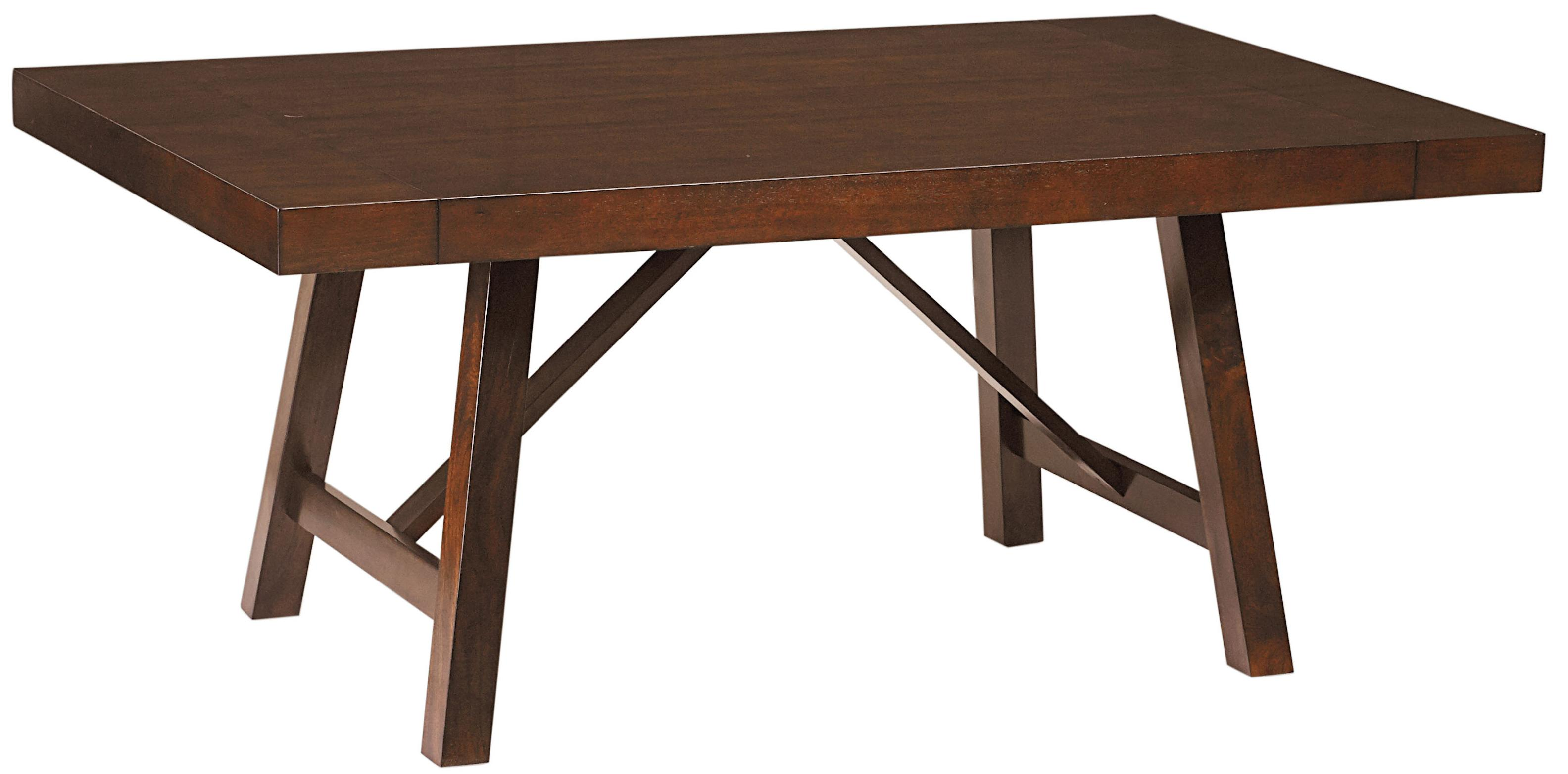 Trestle dining room table with two leaves by standard for Dining table with two leaves