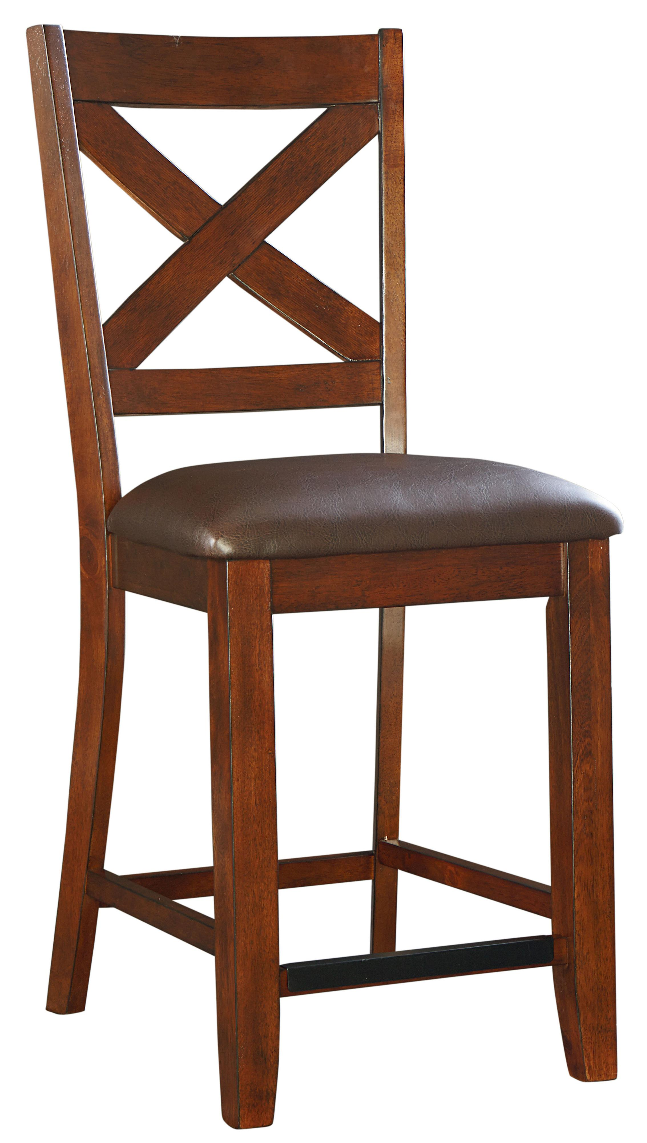 Counter Height Bar Stool With Upholstered Seat And X Back