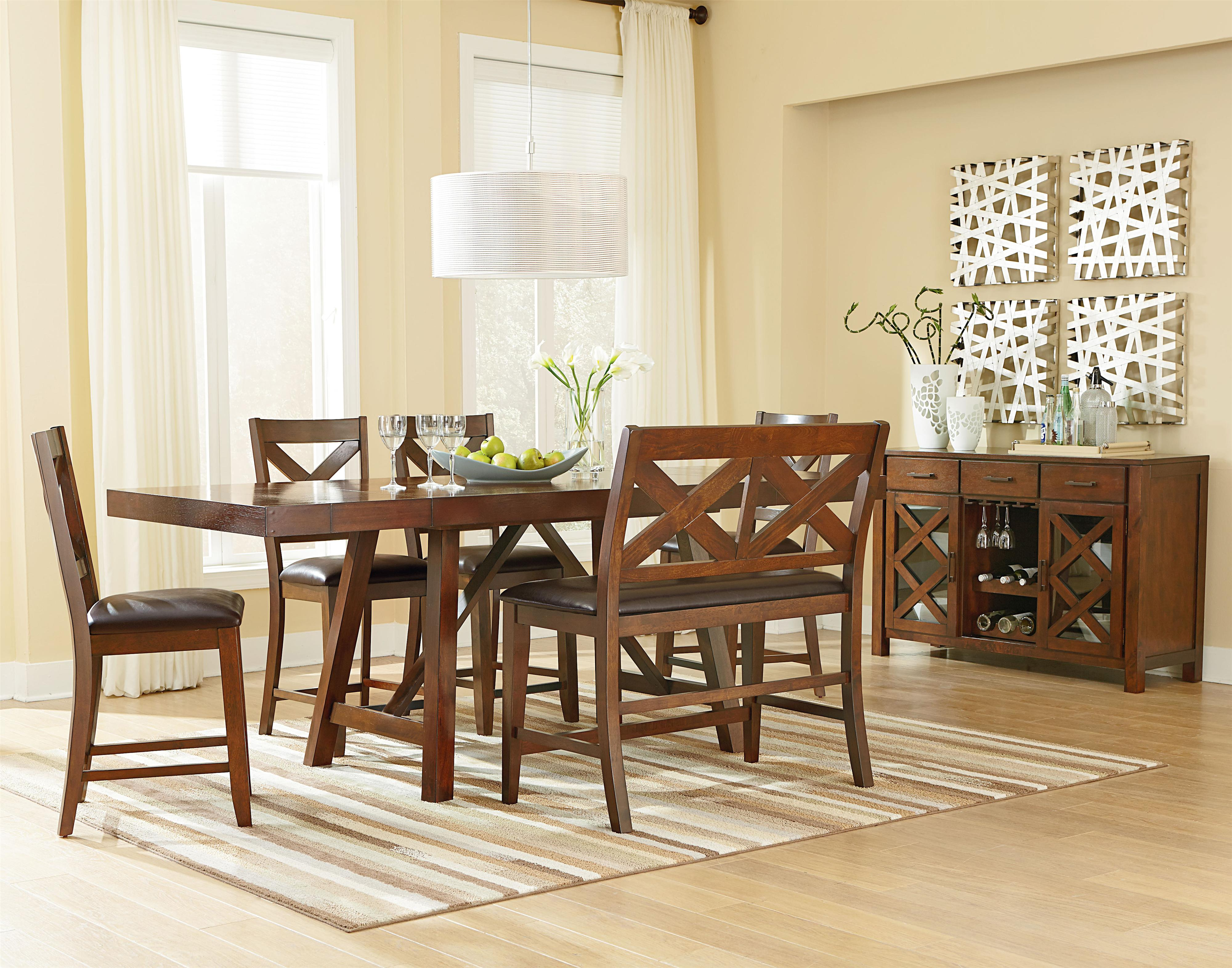 6 Piece Counter Height Table Set With Bench And Bar Stools