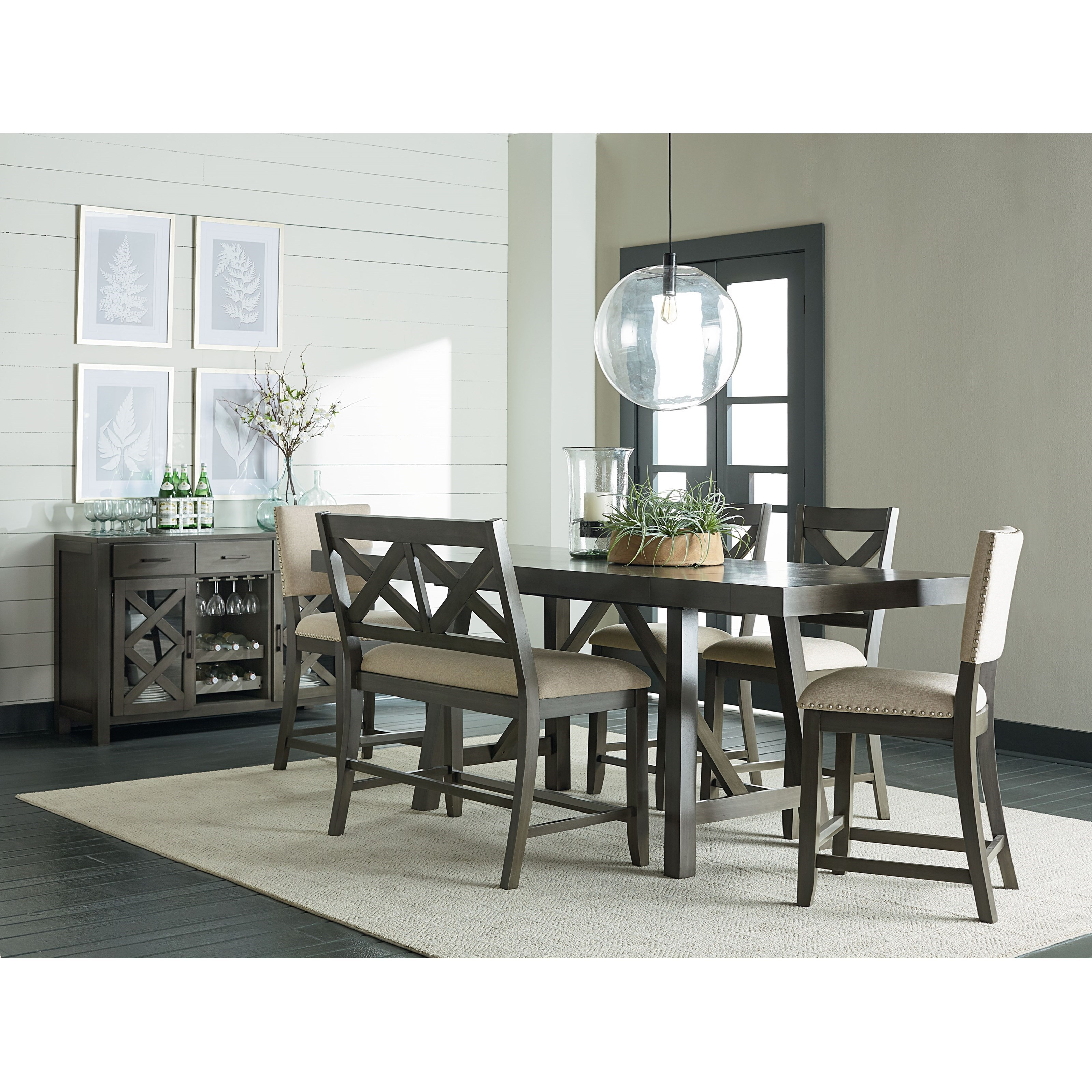 Standard Furniture Cosmo Adjustable Height Round Wood Top: 6 Piece, Counter Height Trestle Table Dining Set By