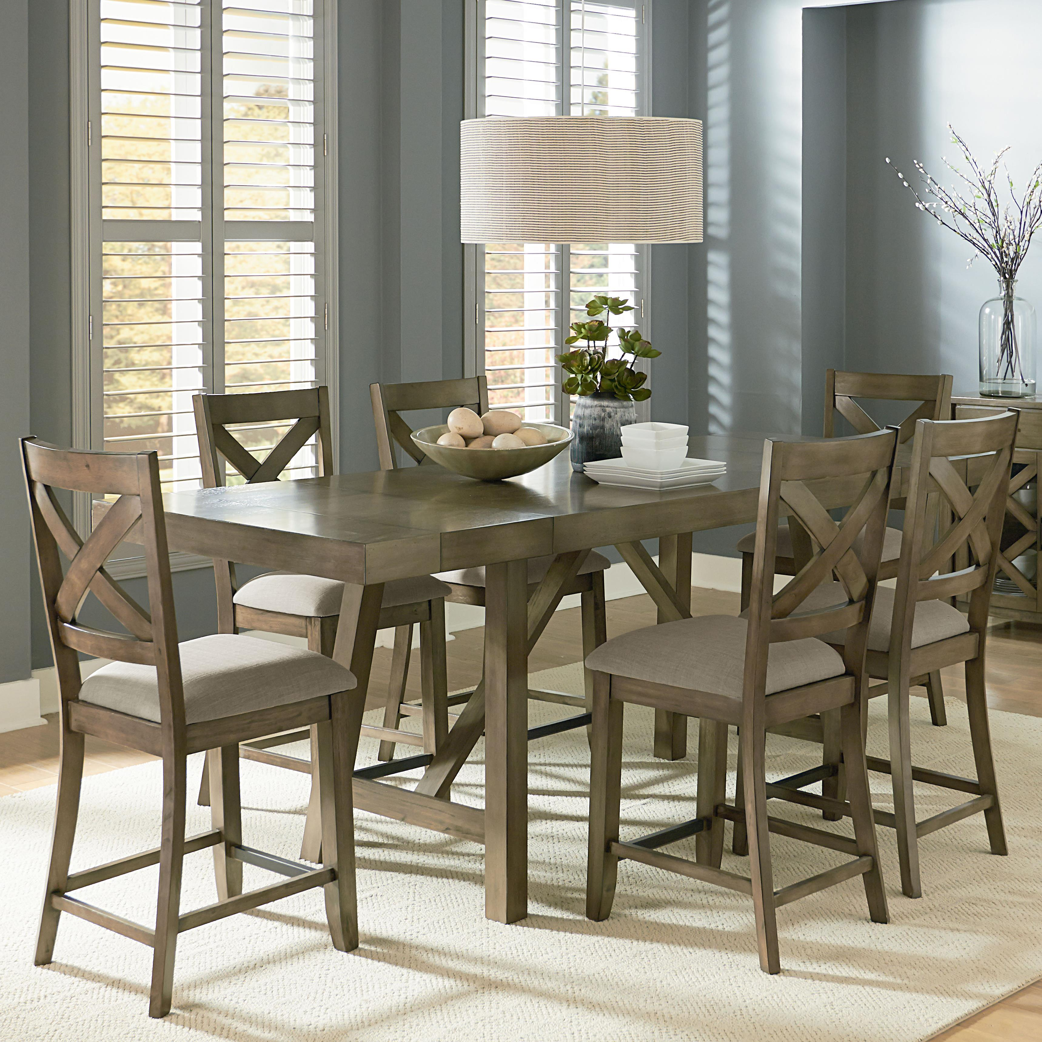Counter height 7 piece dining room table set by standard for What size dining table for 10x12 room