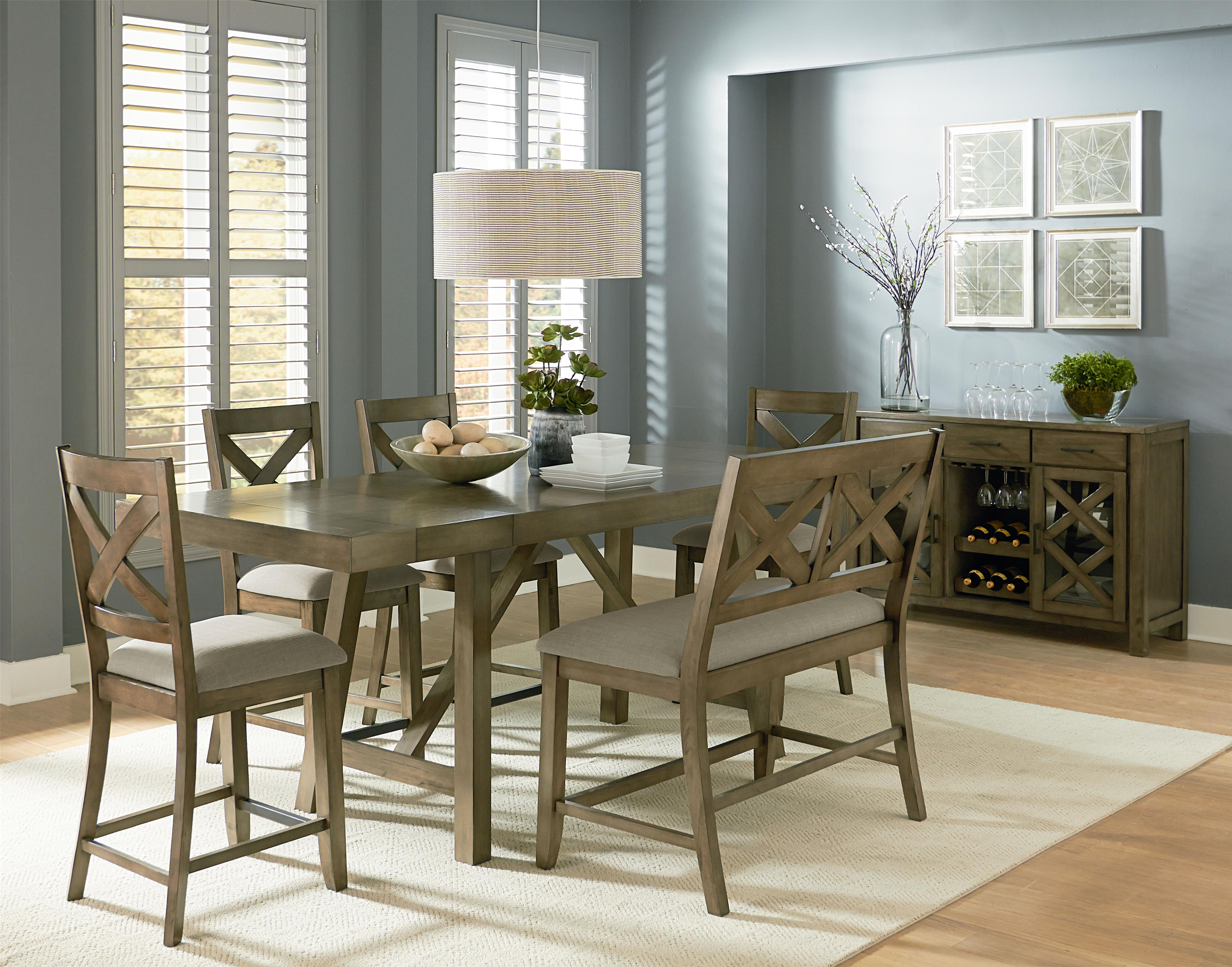 upholstered counter height dining bench with x motif by standard