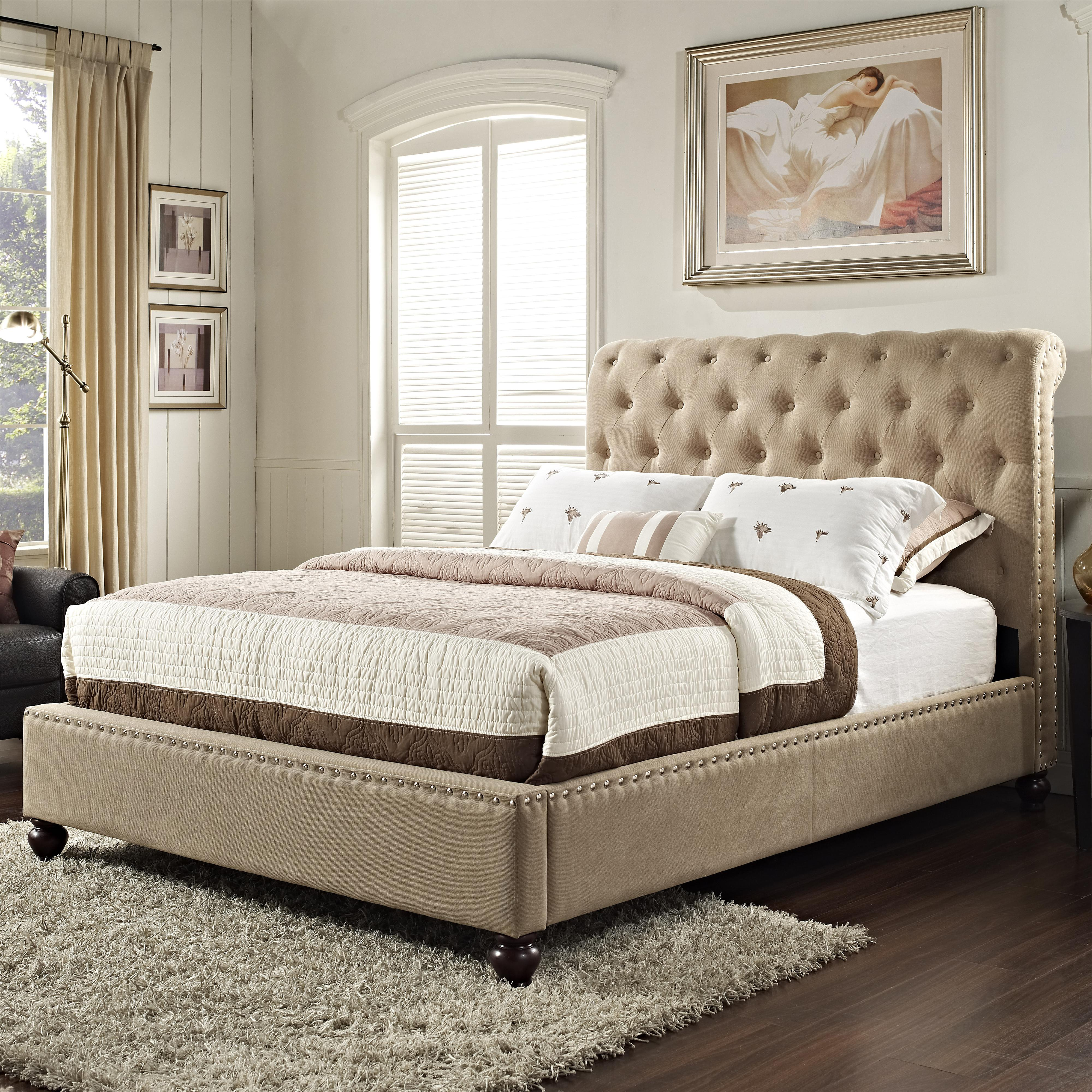 Upholstered king bed with rolled and tufted headboard by for Upholstered beds