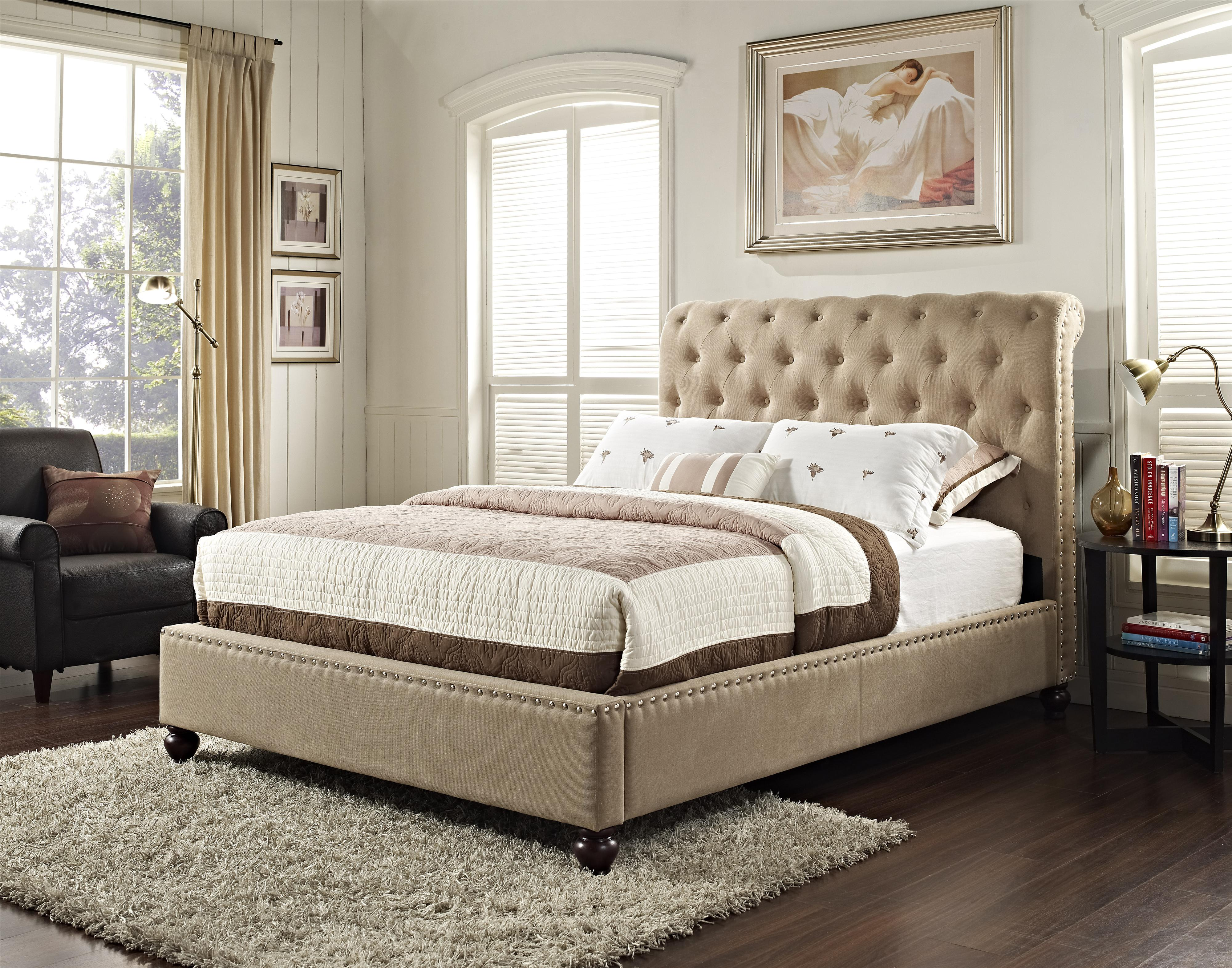 Upholstered Queen Bed With Rolled And Tufted Headboard By Standard Furniture Wolf And Gardiner