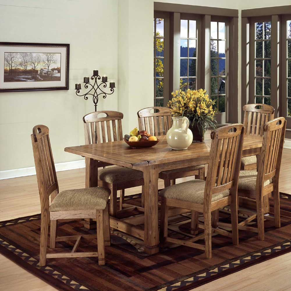 Rustic oak 7 piece dining set by sunny designs wolf and for Rustic country dining sets