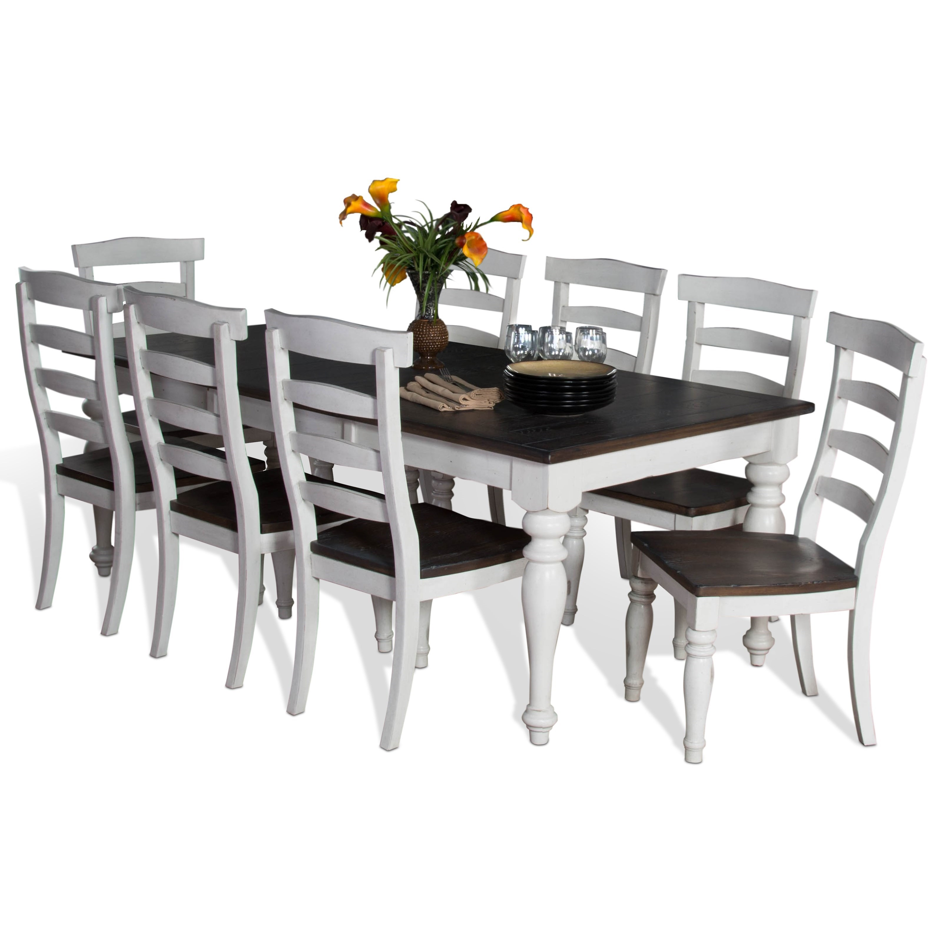 9 piece extension dining table set with ladderback chairs. Black Bedroom Furniture Sets. Home Design Ideas
