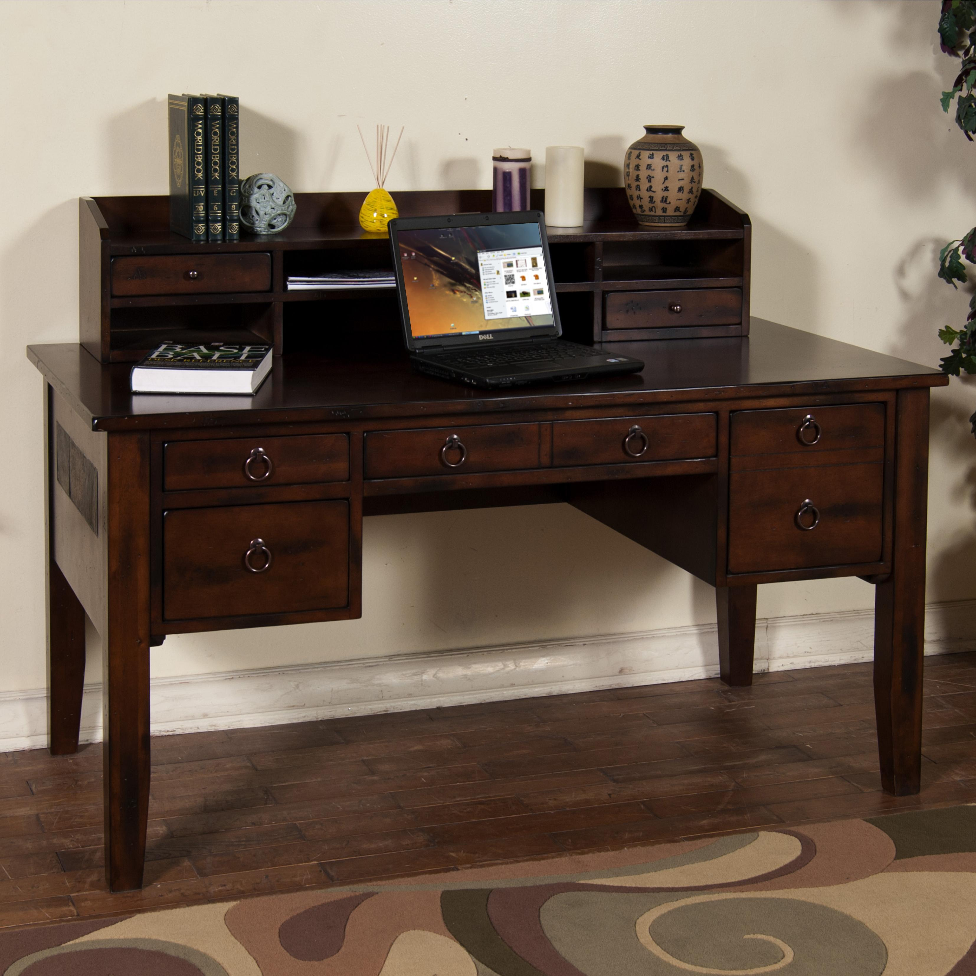writing desk with keyboard drawer hutch by sunny designs. Black Bedroom Furniture Sets. Home Design Ideas
