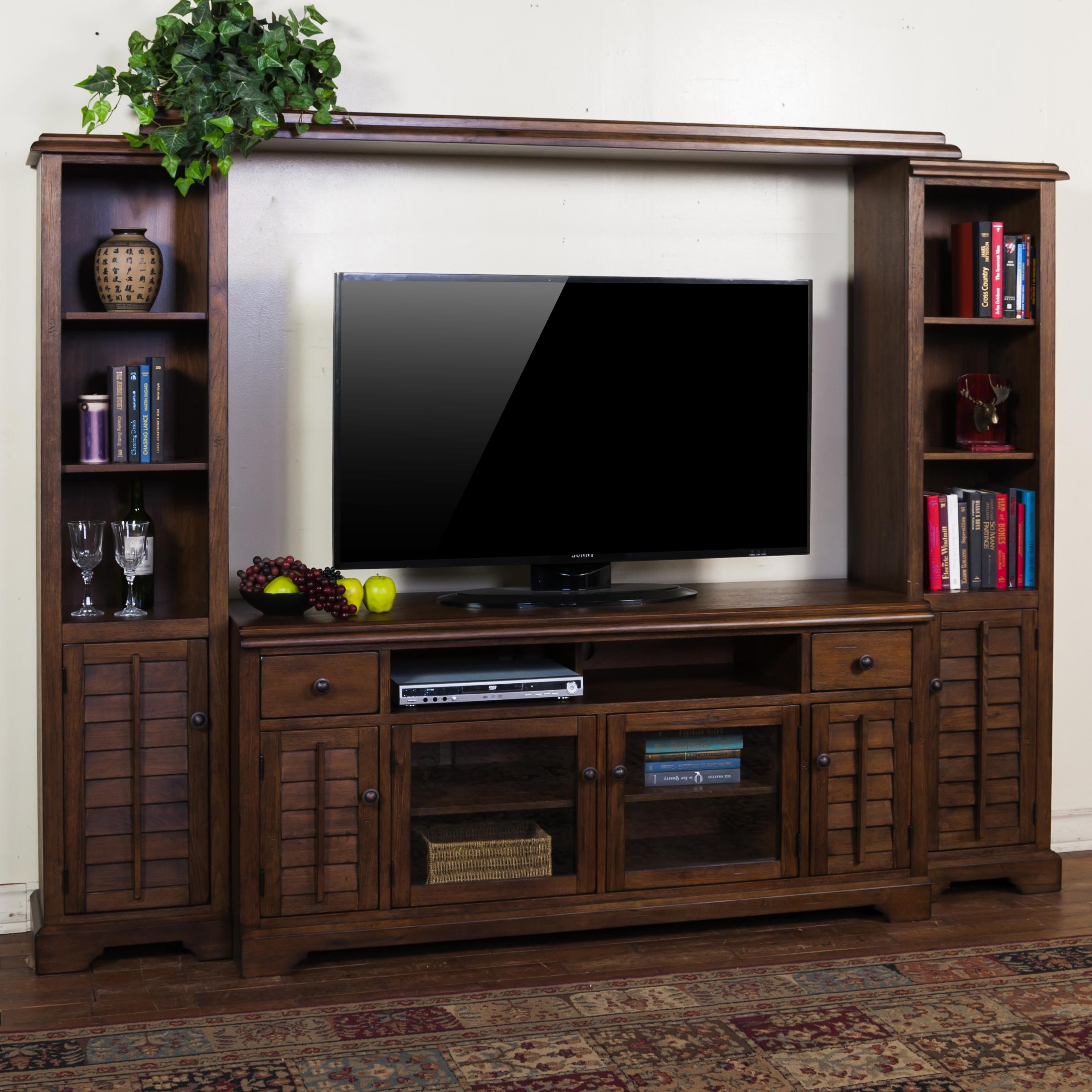 Entertainment wall unit w 65 w tv console by sunny for Living room with 65 inch tv