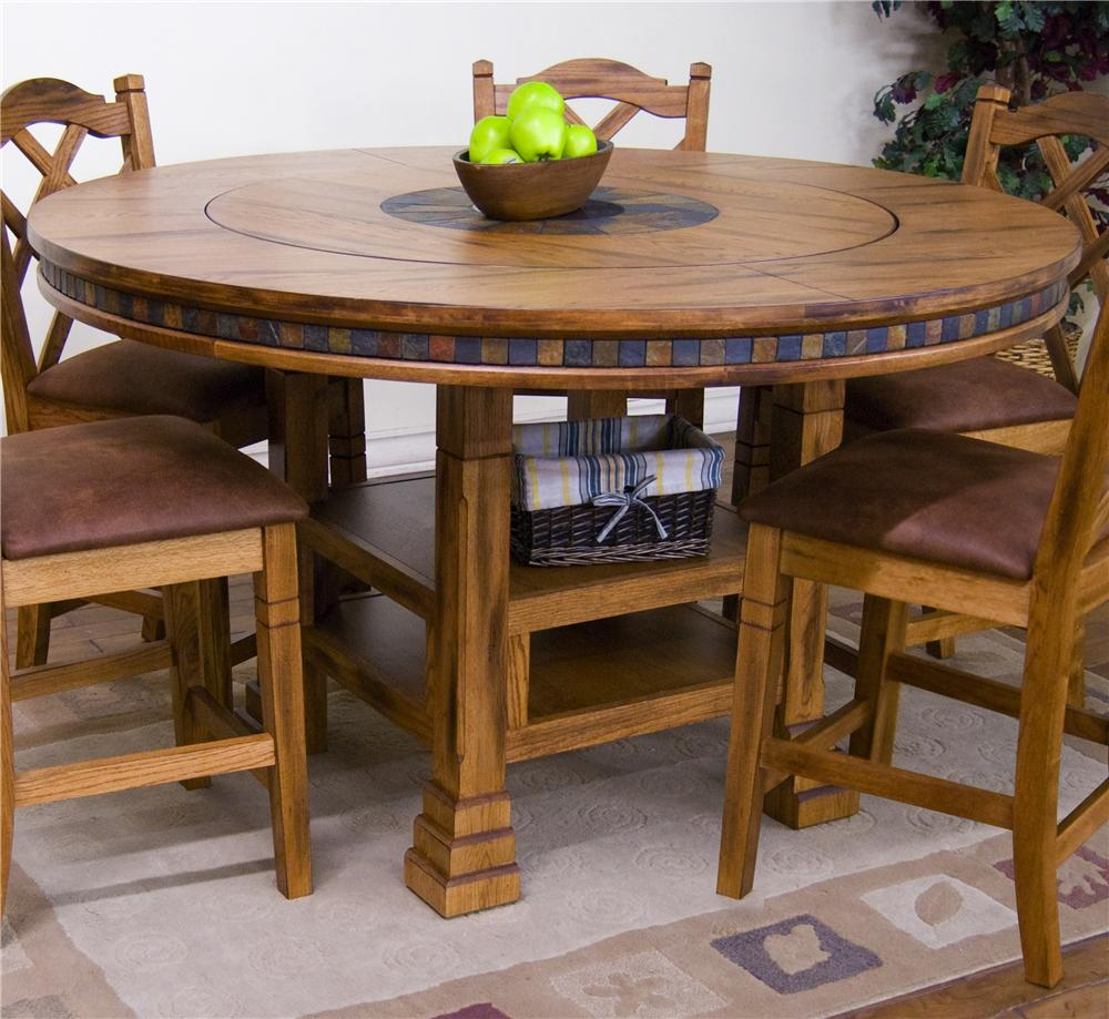 Adjustable height round table w lazy susan by sunny for Round wood dining room table