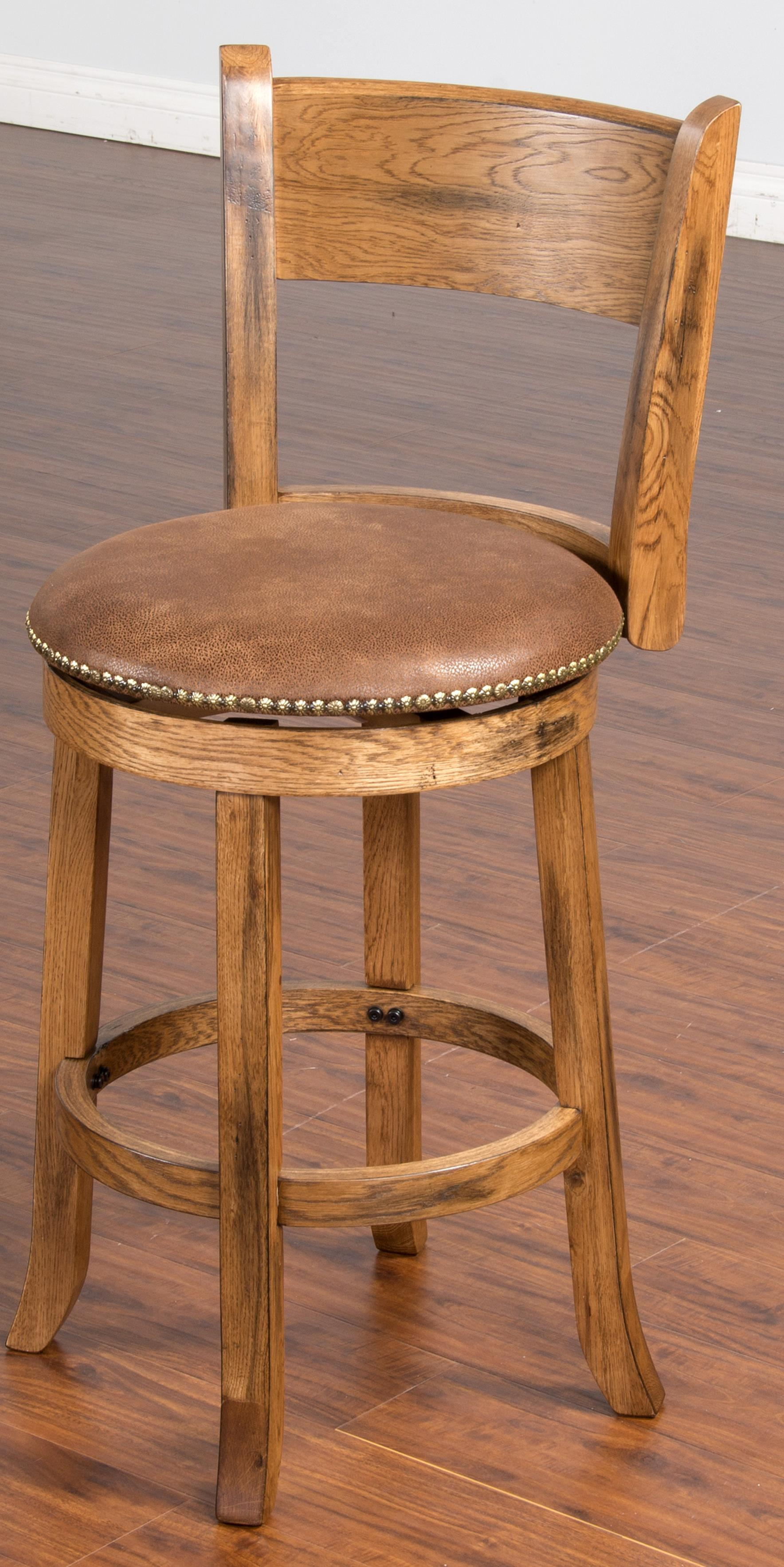 24 Quot Upholstered Swivel Stool W Back By Sunny Designs