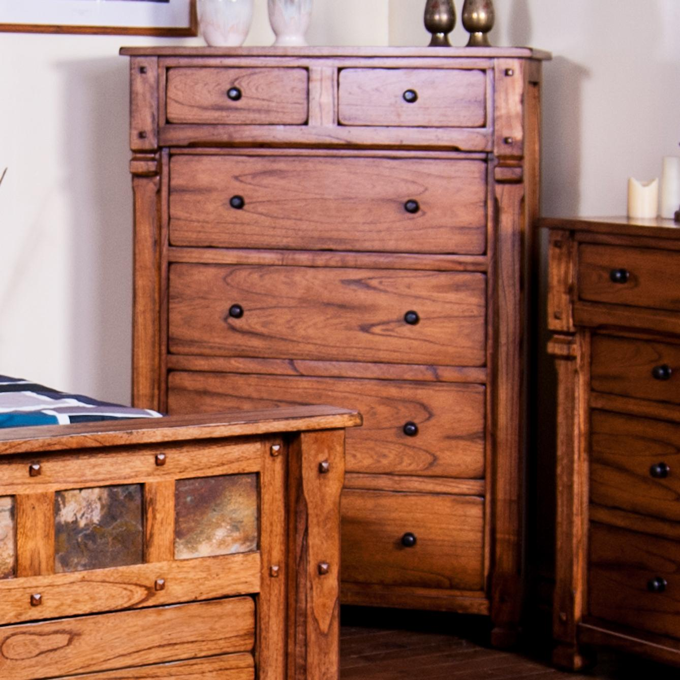 Rustic chest with hideaway drawer by sunny designs wolf and gardiner wolf furniture for Sunny designs bedroom furniture
