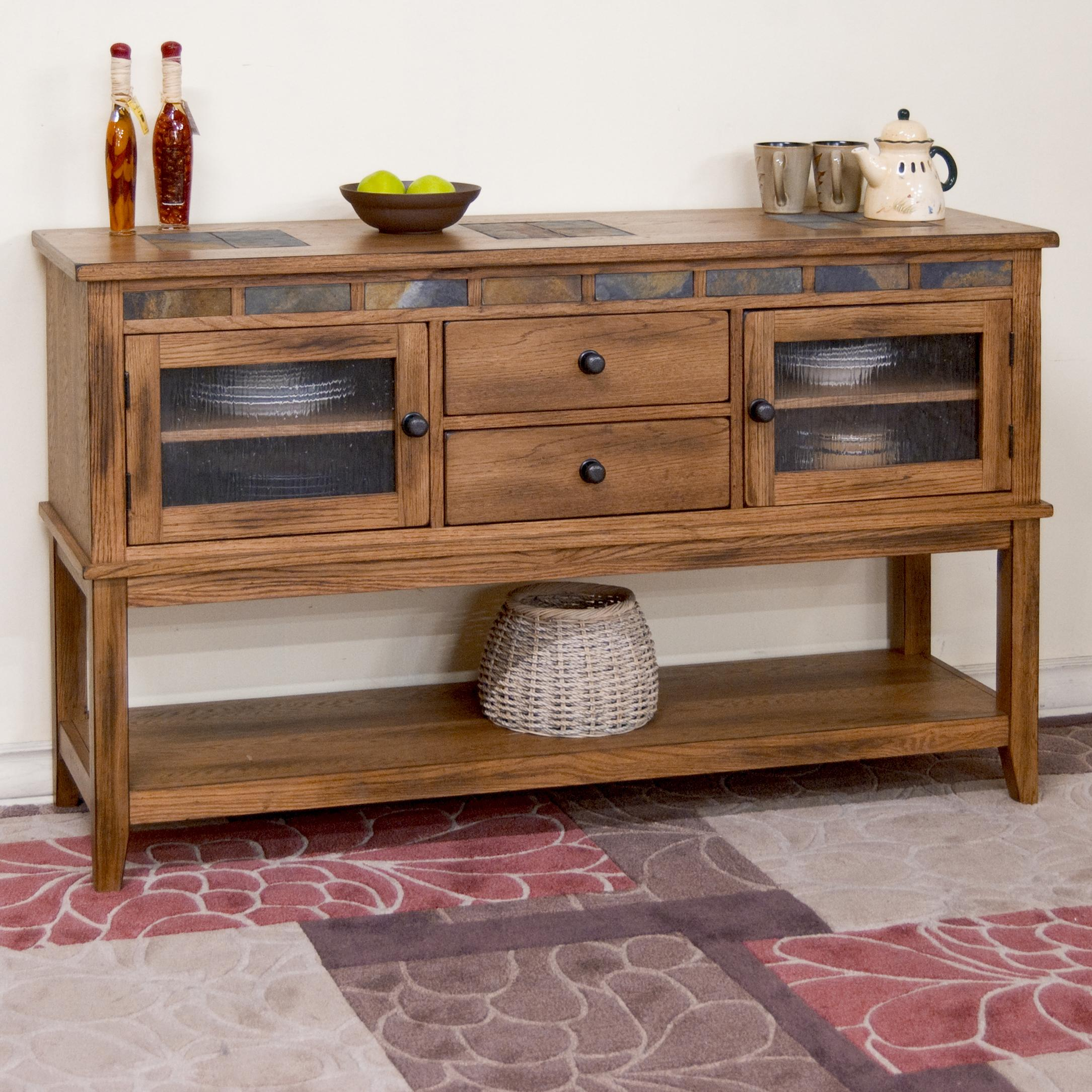 rustic oak server w 2 drawers and slate tile by sunny. Black Bedroom Furniture Sets. Home Design Ideas