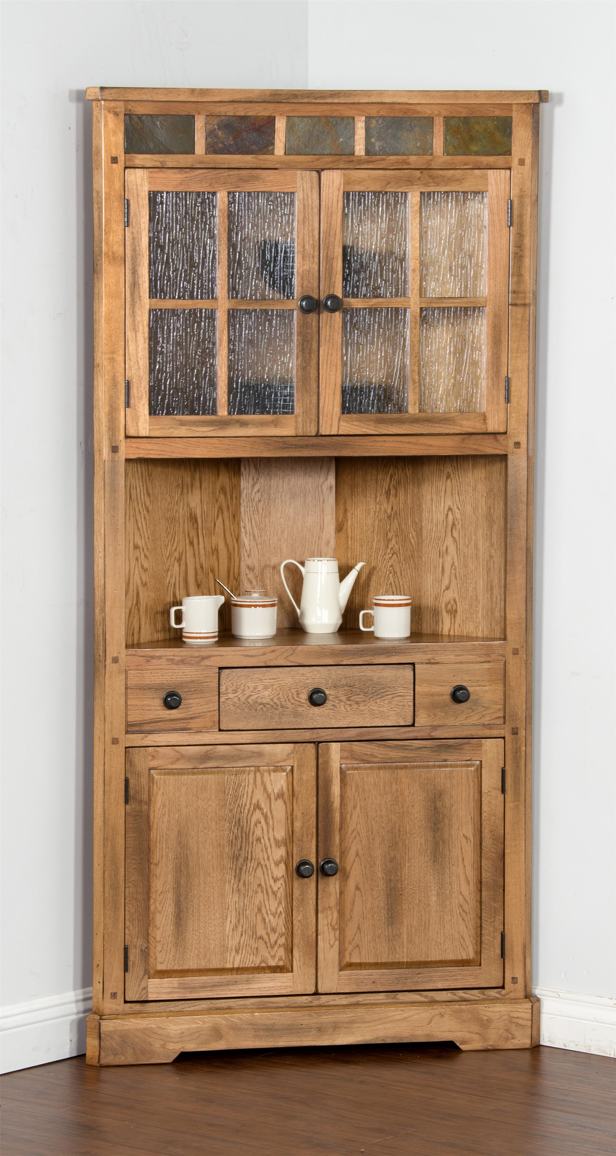 Oak corner china cabinet with slate by sunny designs