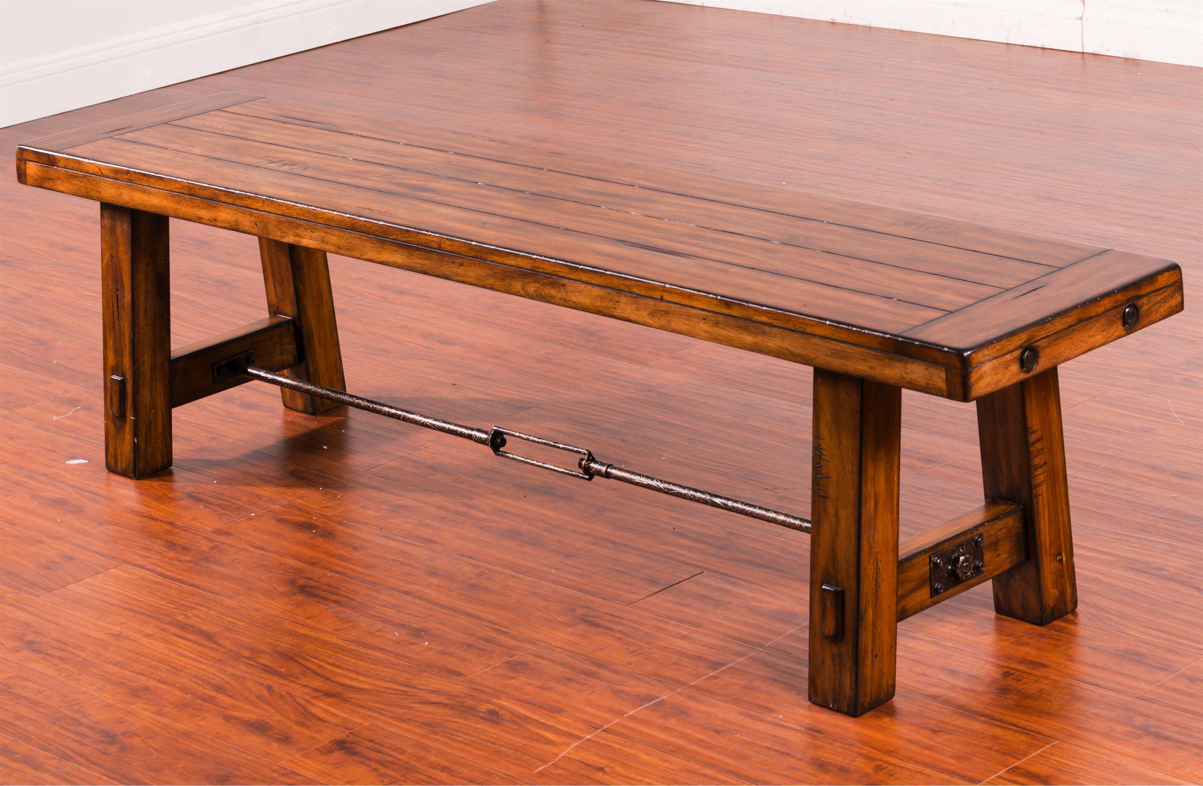 dining bench with wood seat and metal turnbuckle stretcher. Black Bedroom Furniture Sets. Home Design Ideas