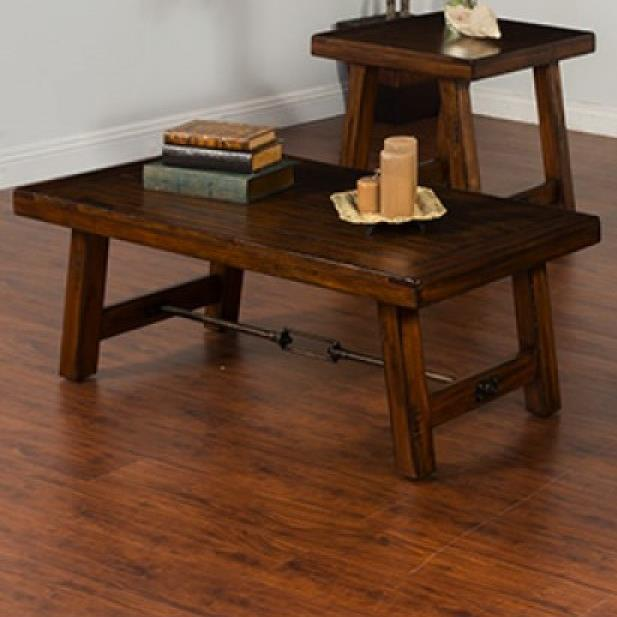 Distressed mahogany coffee table with turnbuckle accent by for Mahogany coffee table