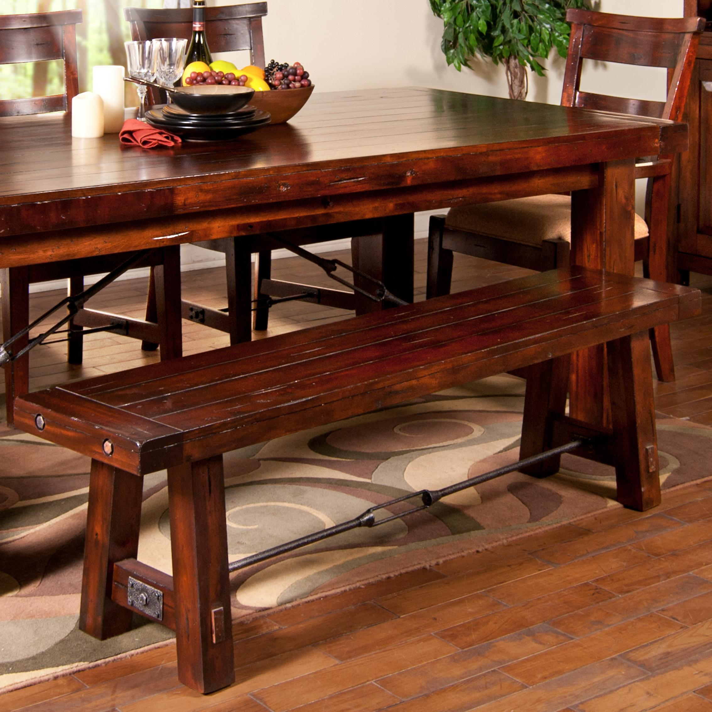 dining bench with wood seat and metal stretcher by sunny. Black Bedroom Furniture Sets. Home Design Ideas