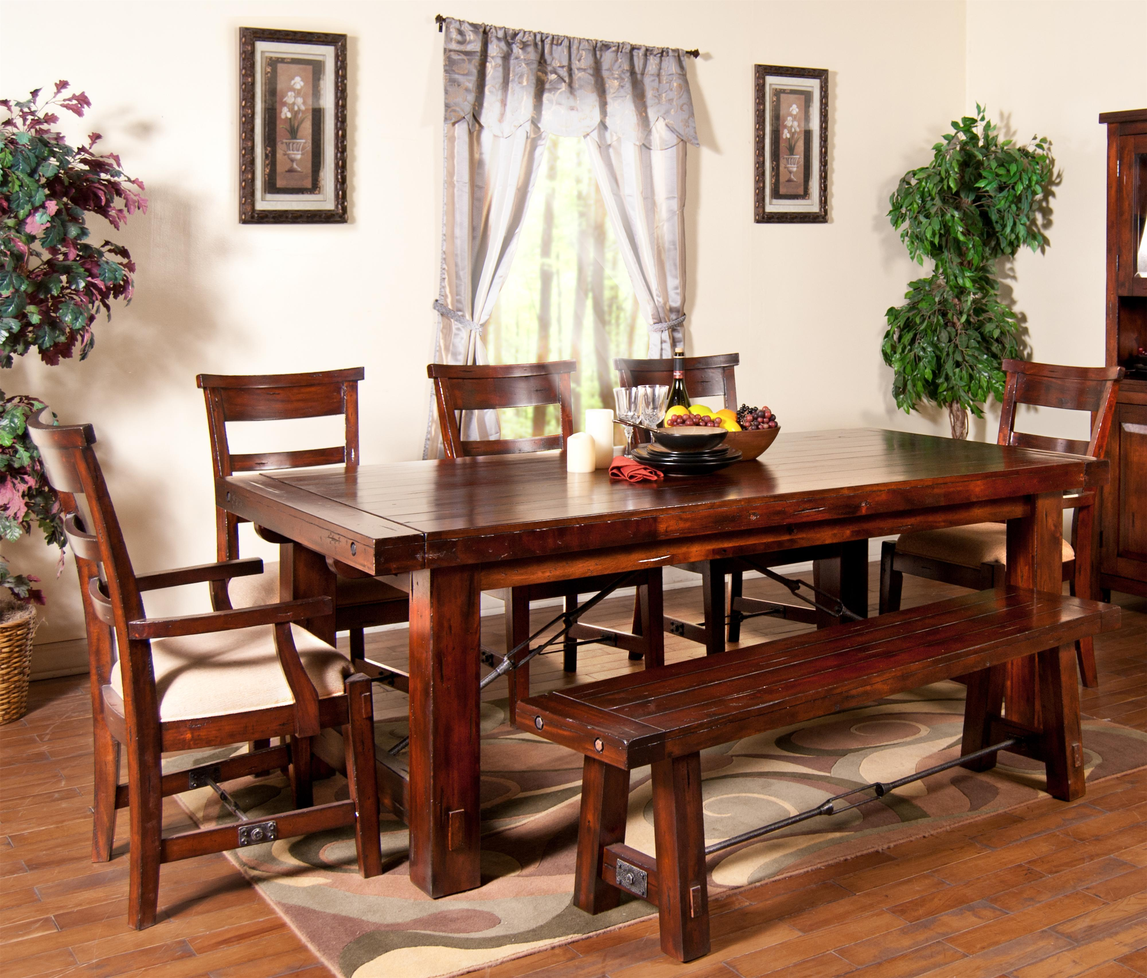 Dining bench with wood seat and metal stretcher by sunny for Latest style dining table