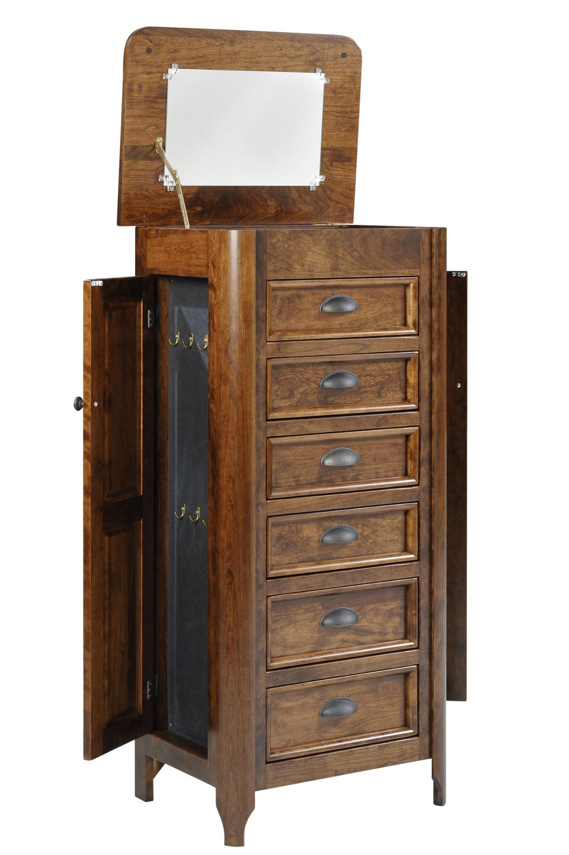 transitional six drawer jewelry armoire with hidden. Black Bedroom Furniture Sets. Home Design Ideas