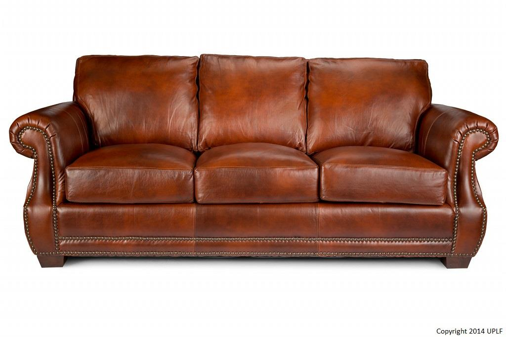 Traditional top grain leather sofa with nailhead trim by for Traditional leather furniture