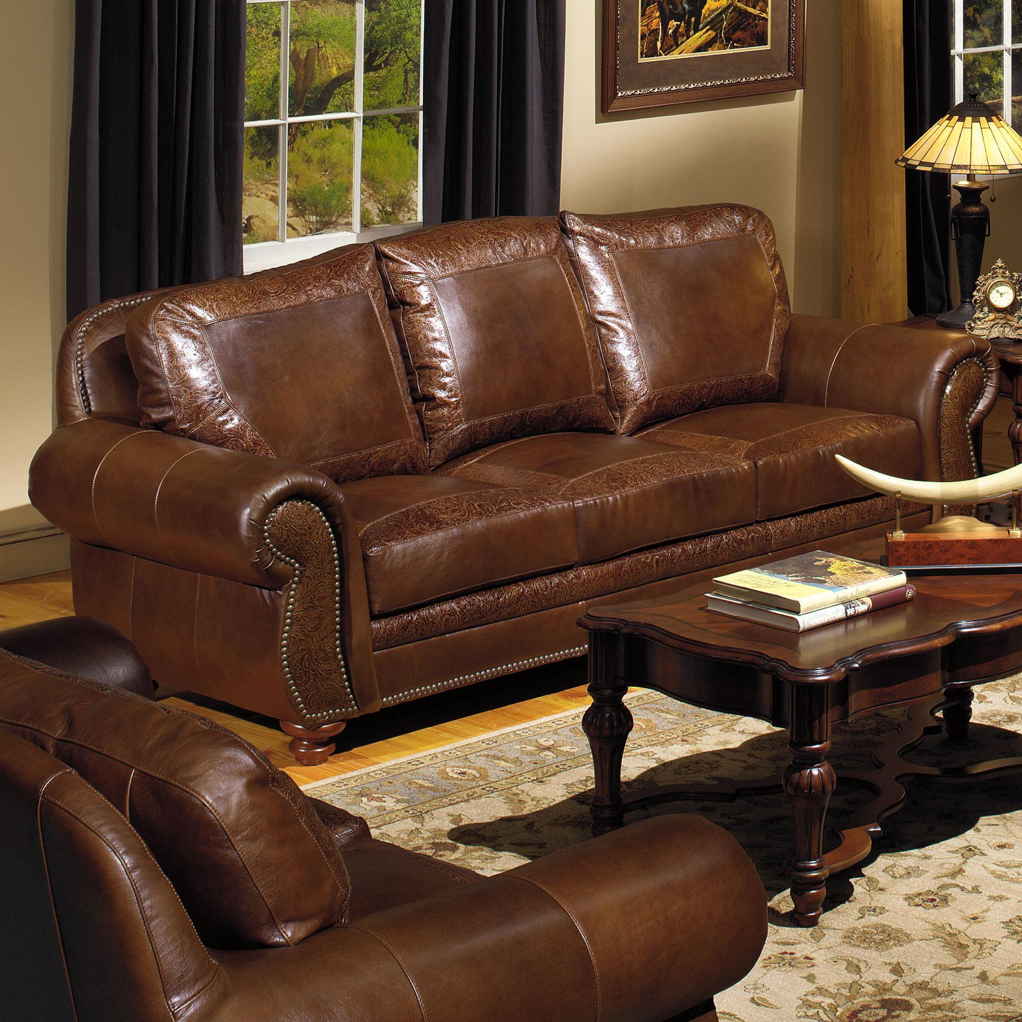 Traditional leather sofa with nailhead trim by usa premium for Traditional couches